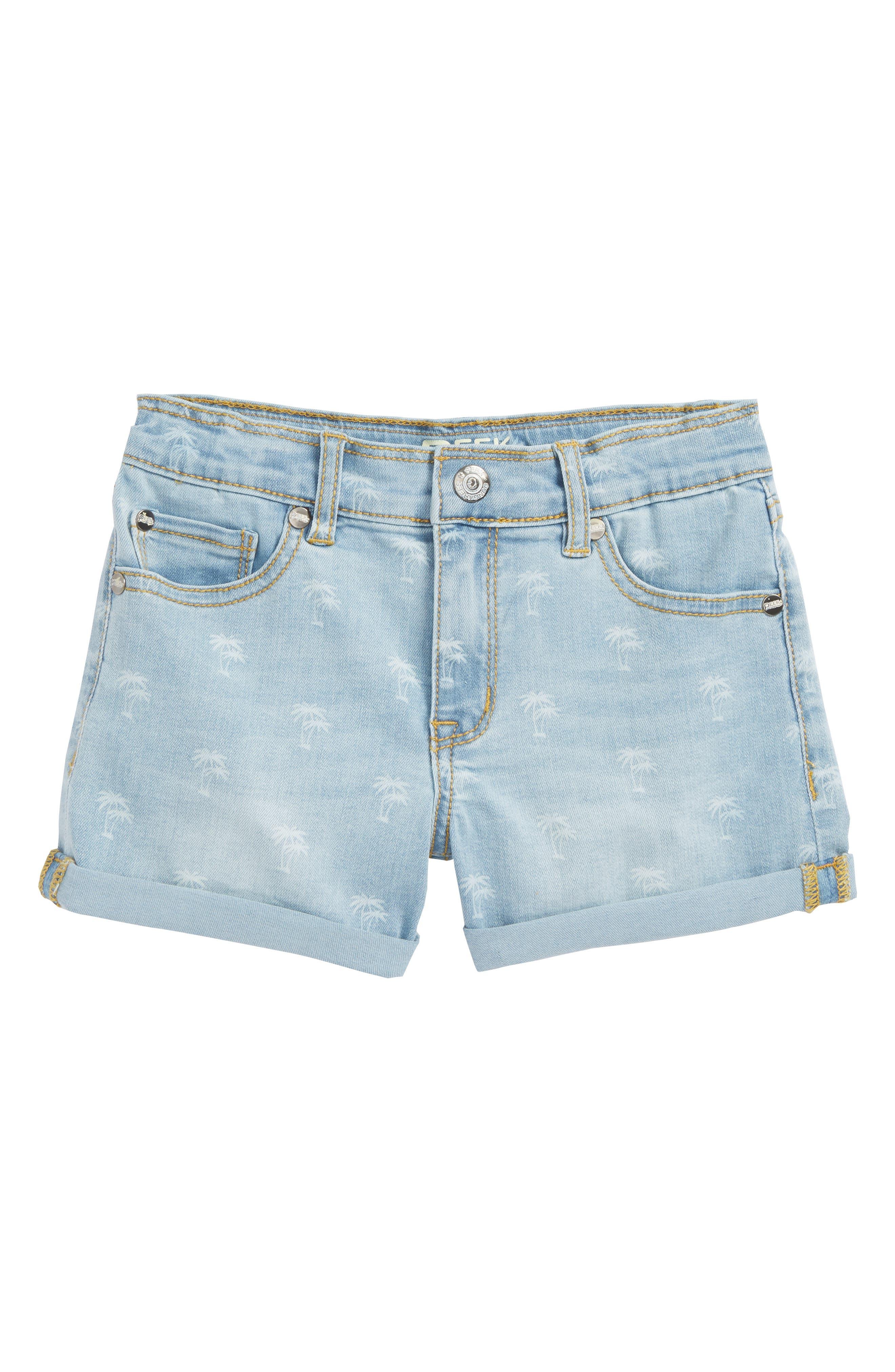 Peek Griffin Palm Tree Denim Shorts (Toddler Girls, Little Girls & Big Girls)
