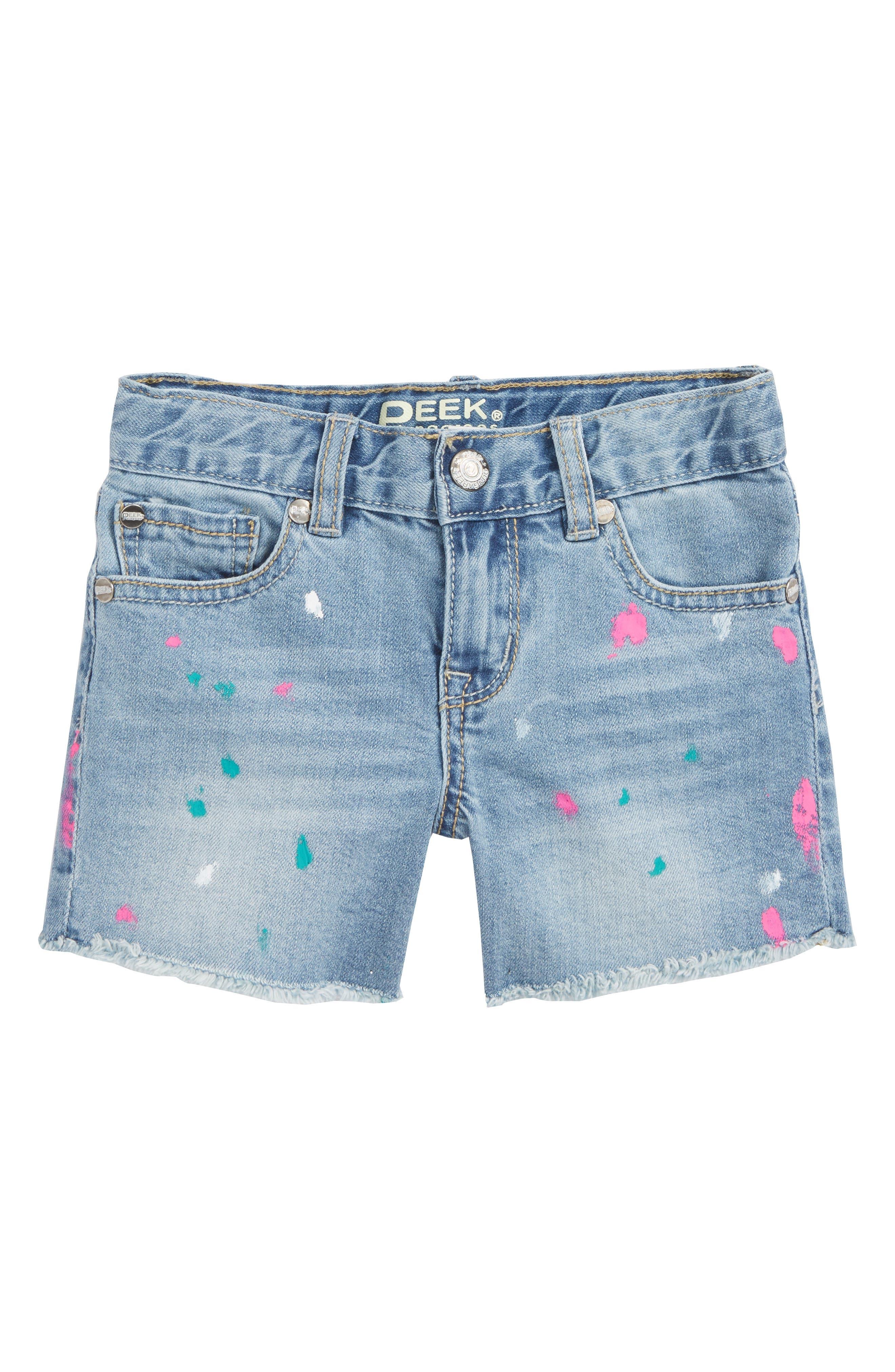 Peek Griffin Paint Splatter Denim Shorts (Toddler Girls, Little Girls & Big Girls)