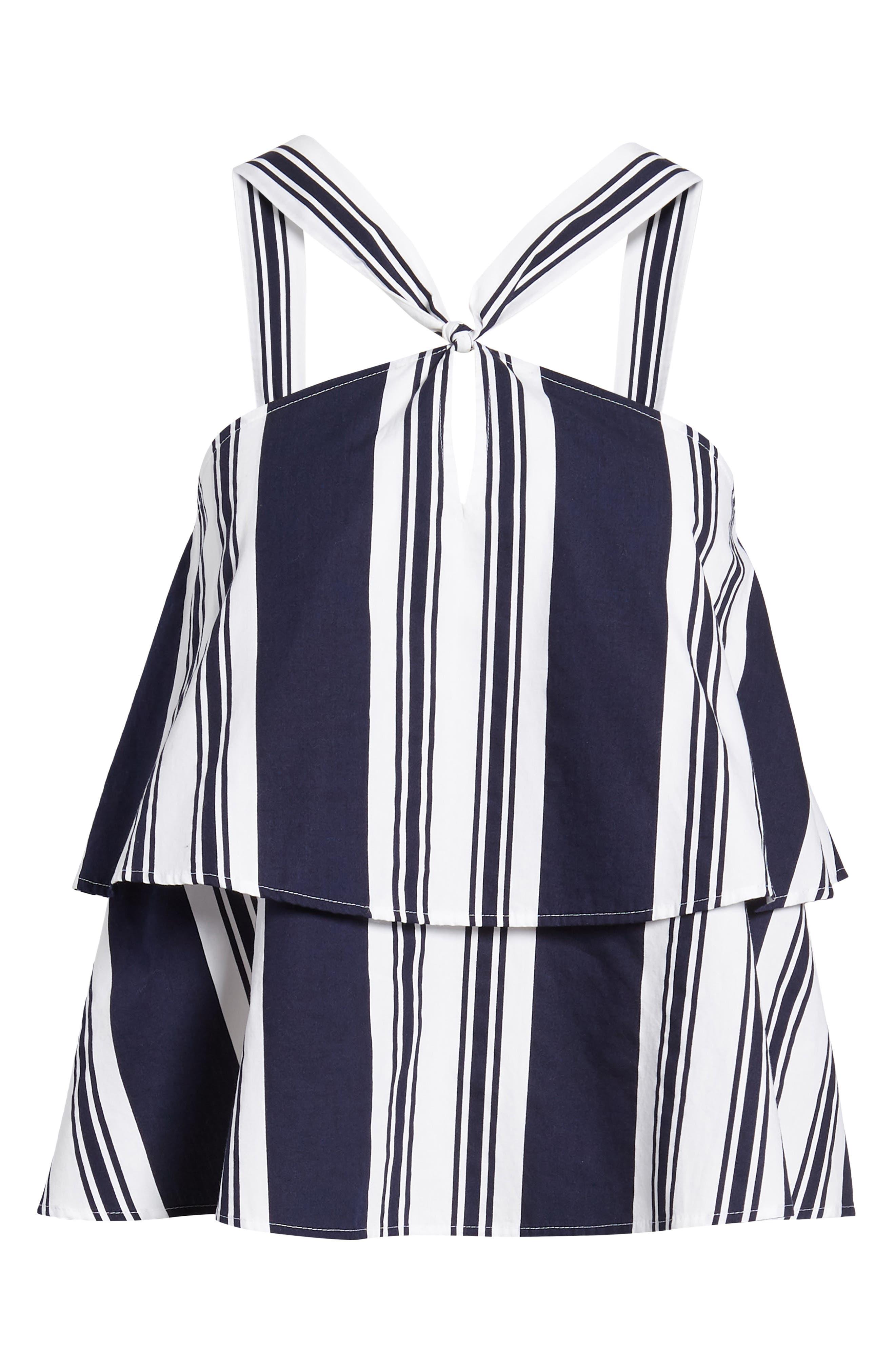Stripe Poplin Halter Top,                             Alternate thumbnail 7, color,                             Navy Peacoat Umbrella Stripe