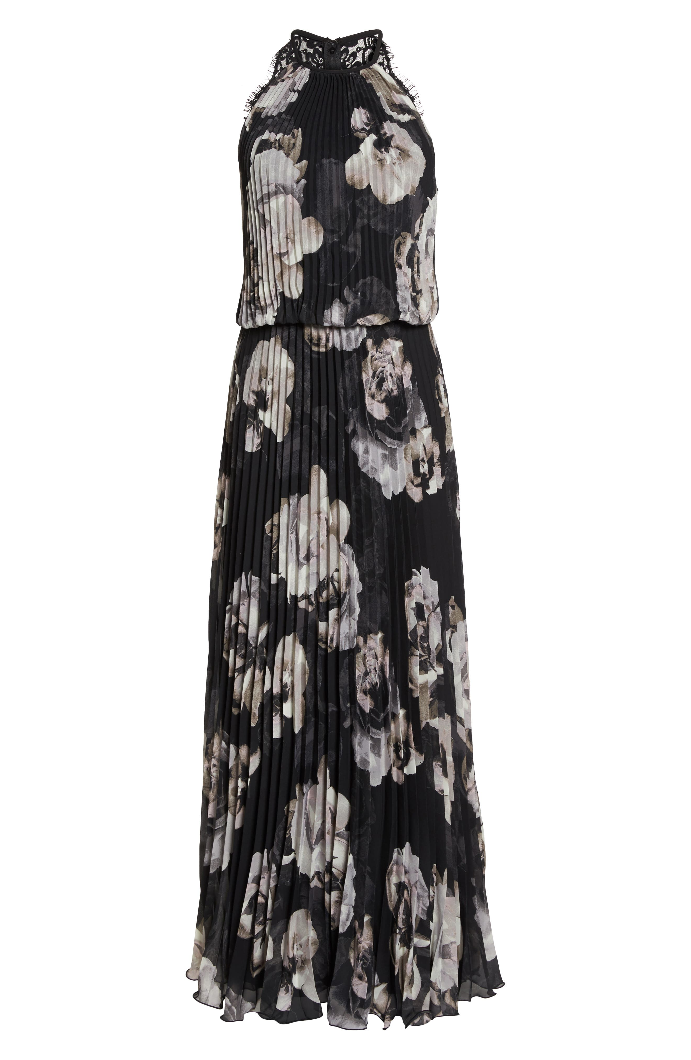 Pleated Halter Neck Chiffon Gown,                             Alternate thumbnail 7, color,                             Black/ White