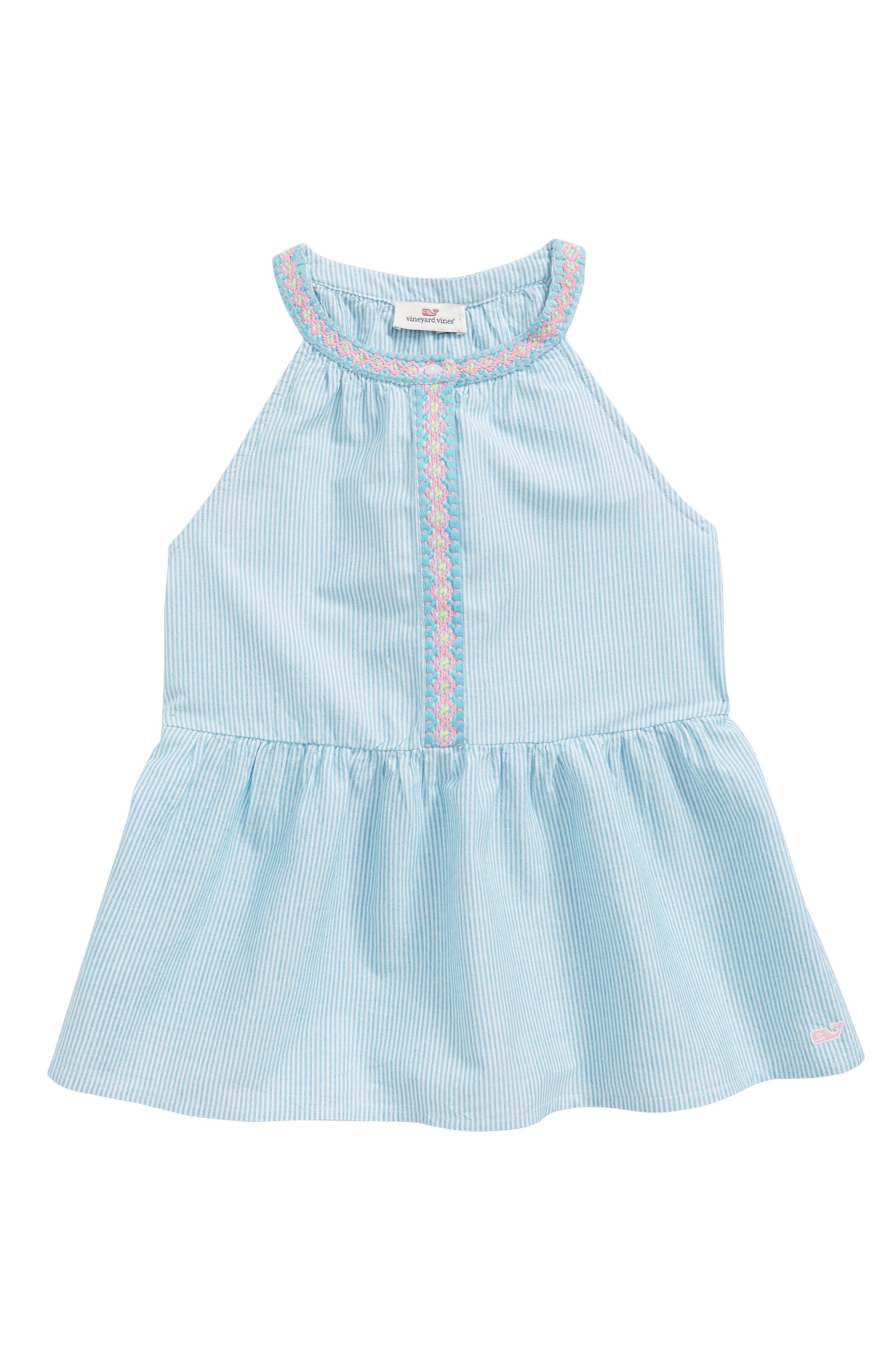Embroidered Stripe Top,                             Main thumbnail 1, color,                             Turquoise