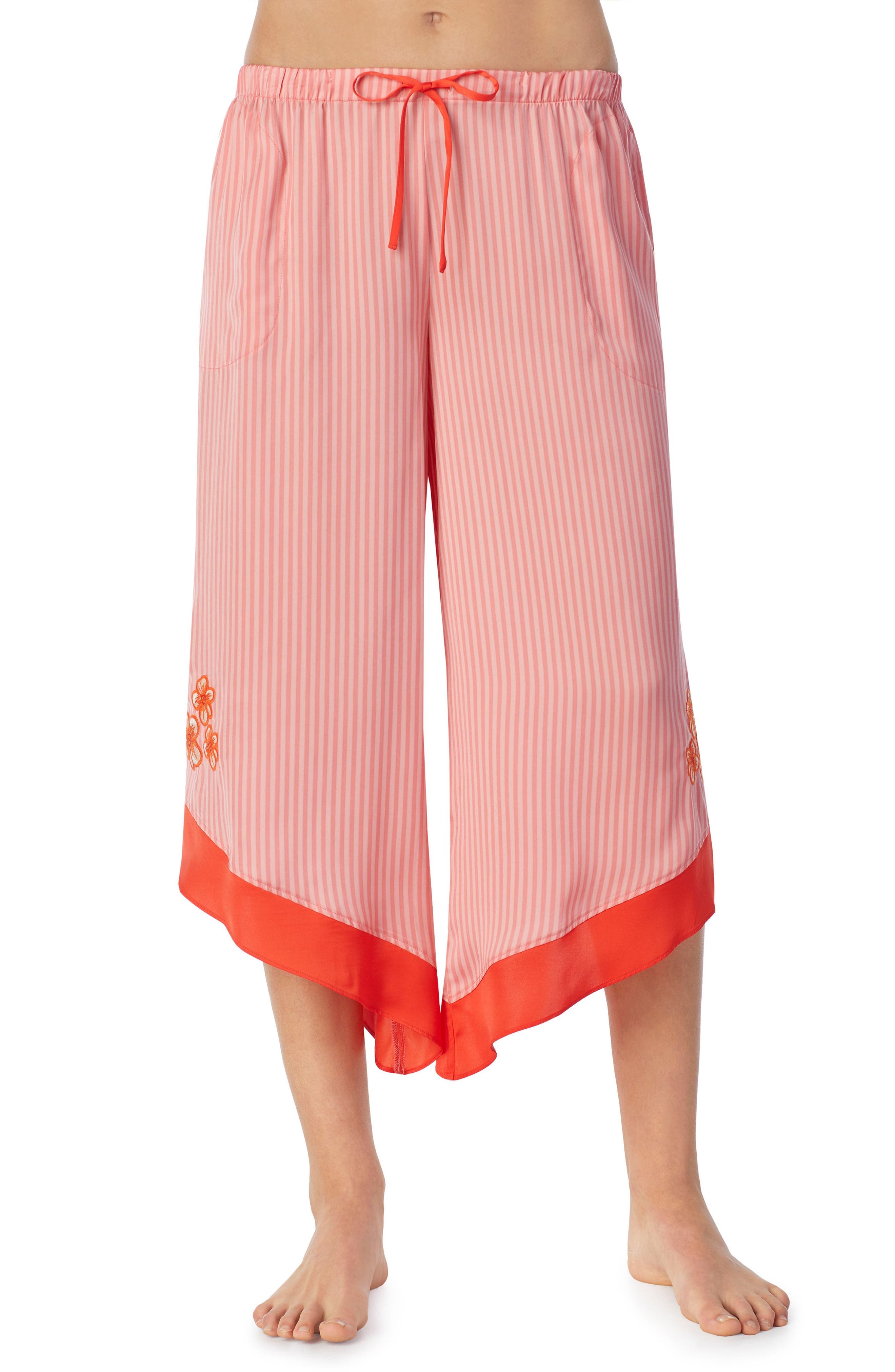Satin Crop Pants,                         Main,                         color, Pink Glow Stripe