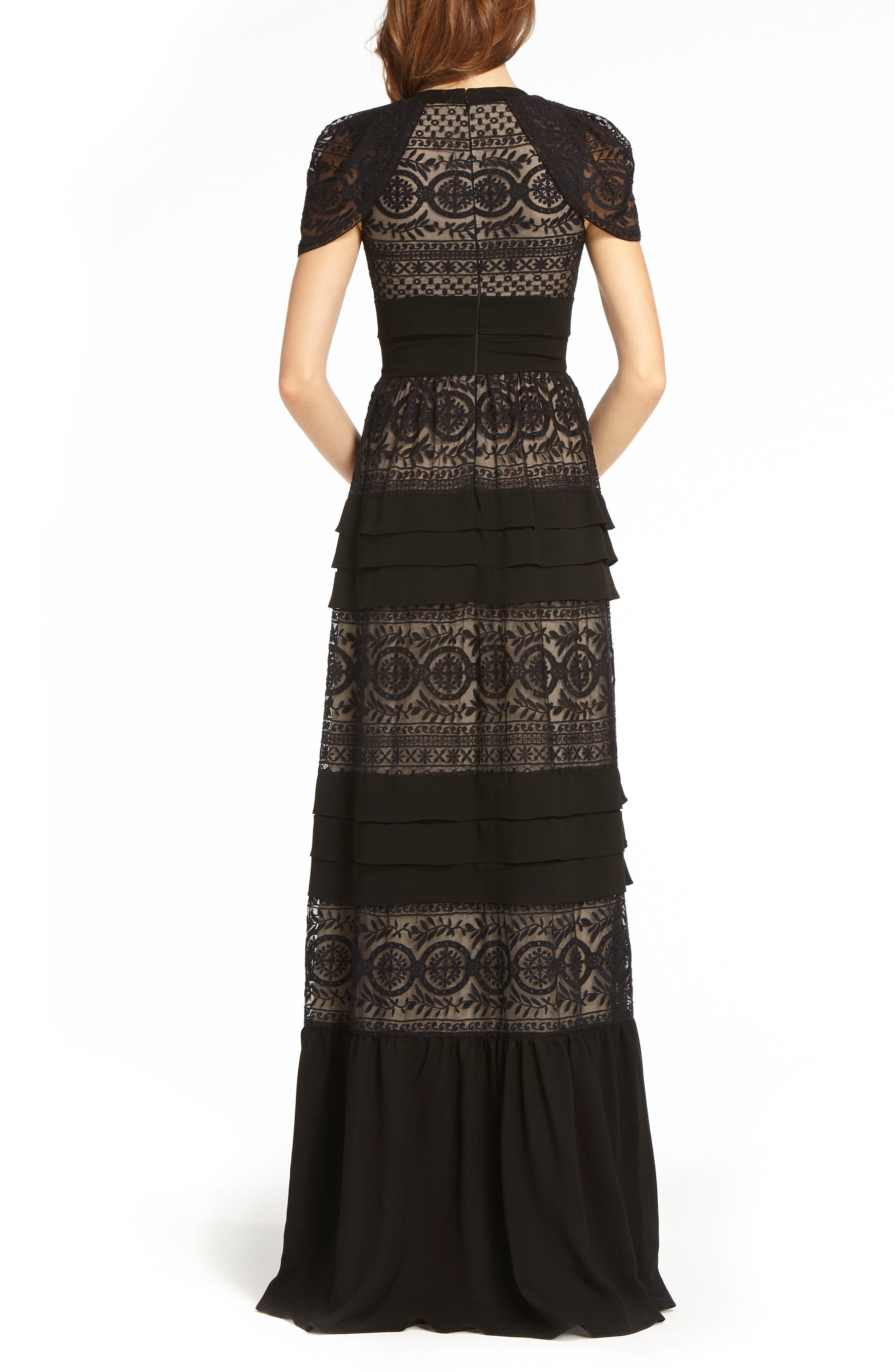 Tiered Lace Gown,                             Alternate thumbnail 2, color,                             Black Nude