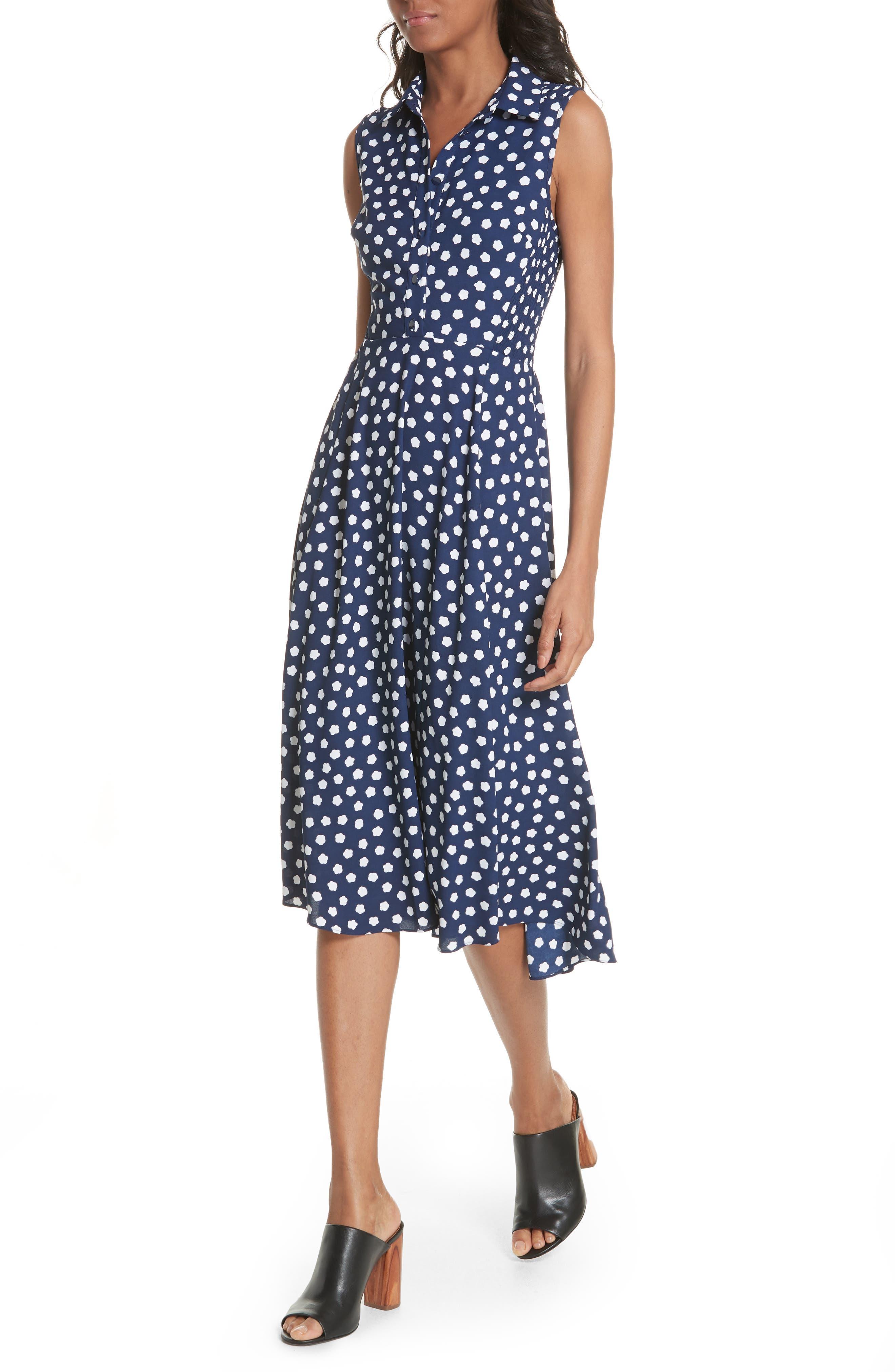 cloud dot midi dress,                             Alternate thumbnail 4, color,                             French Navy/ Fresh White