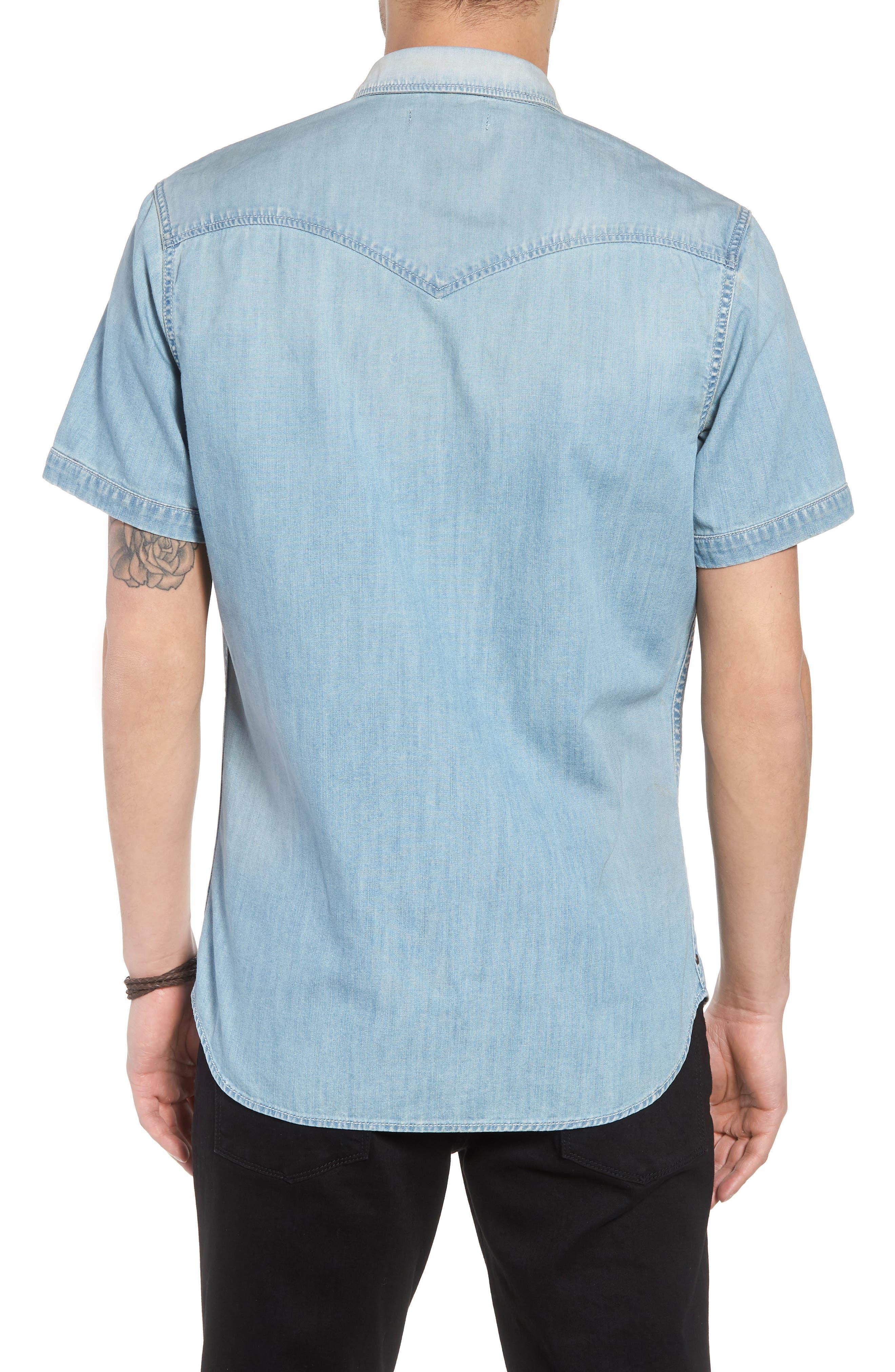 Slim Fit Western Denim Shirt,                             Alternate thumbnail 2, color,                             Blue Light Vintage Wash
