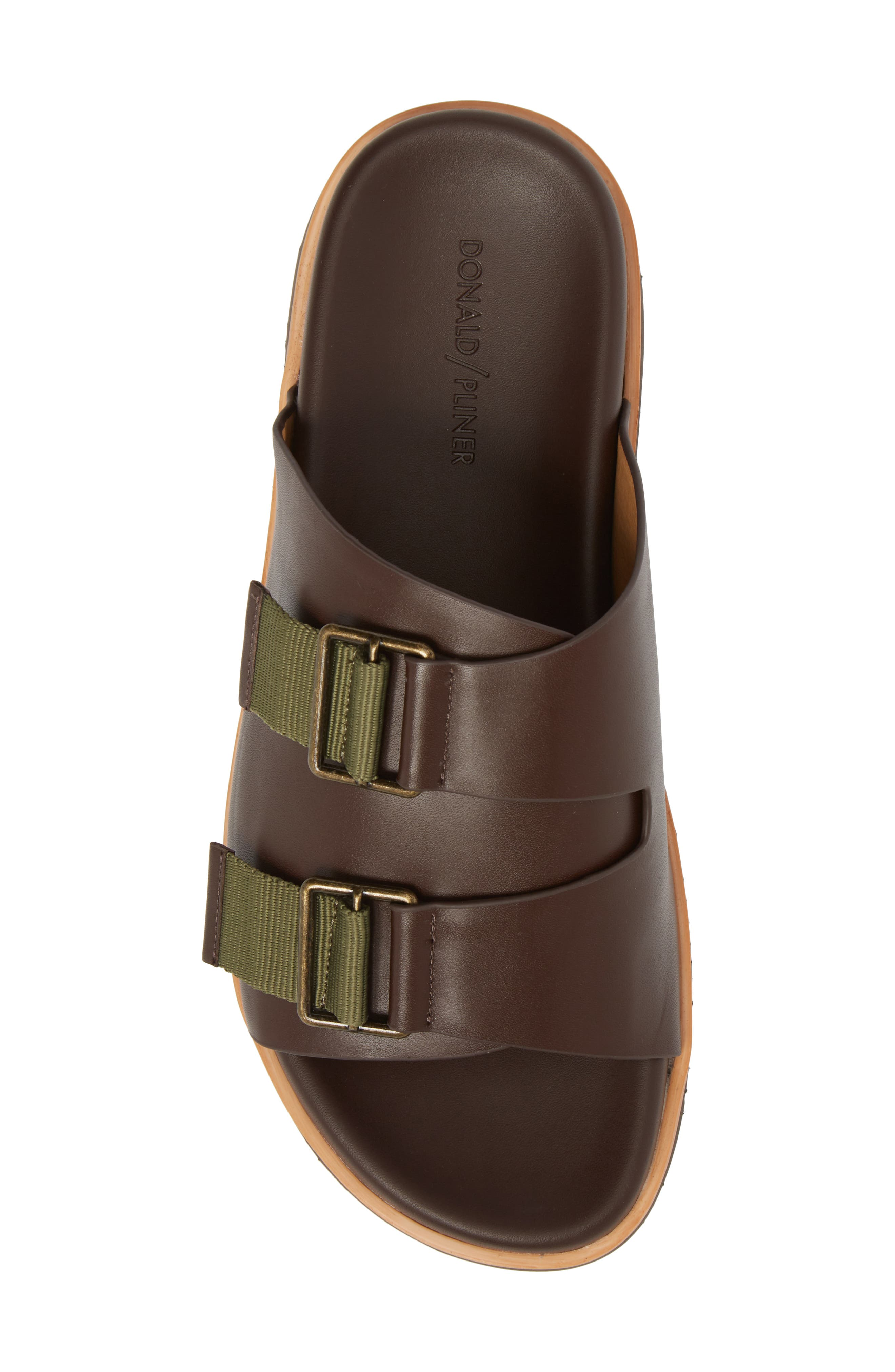Slide Sandal,                             Alternate thumbnail 5, color,                             Expresso/ Tan Leather