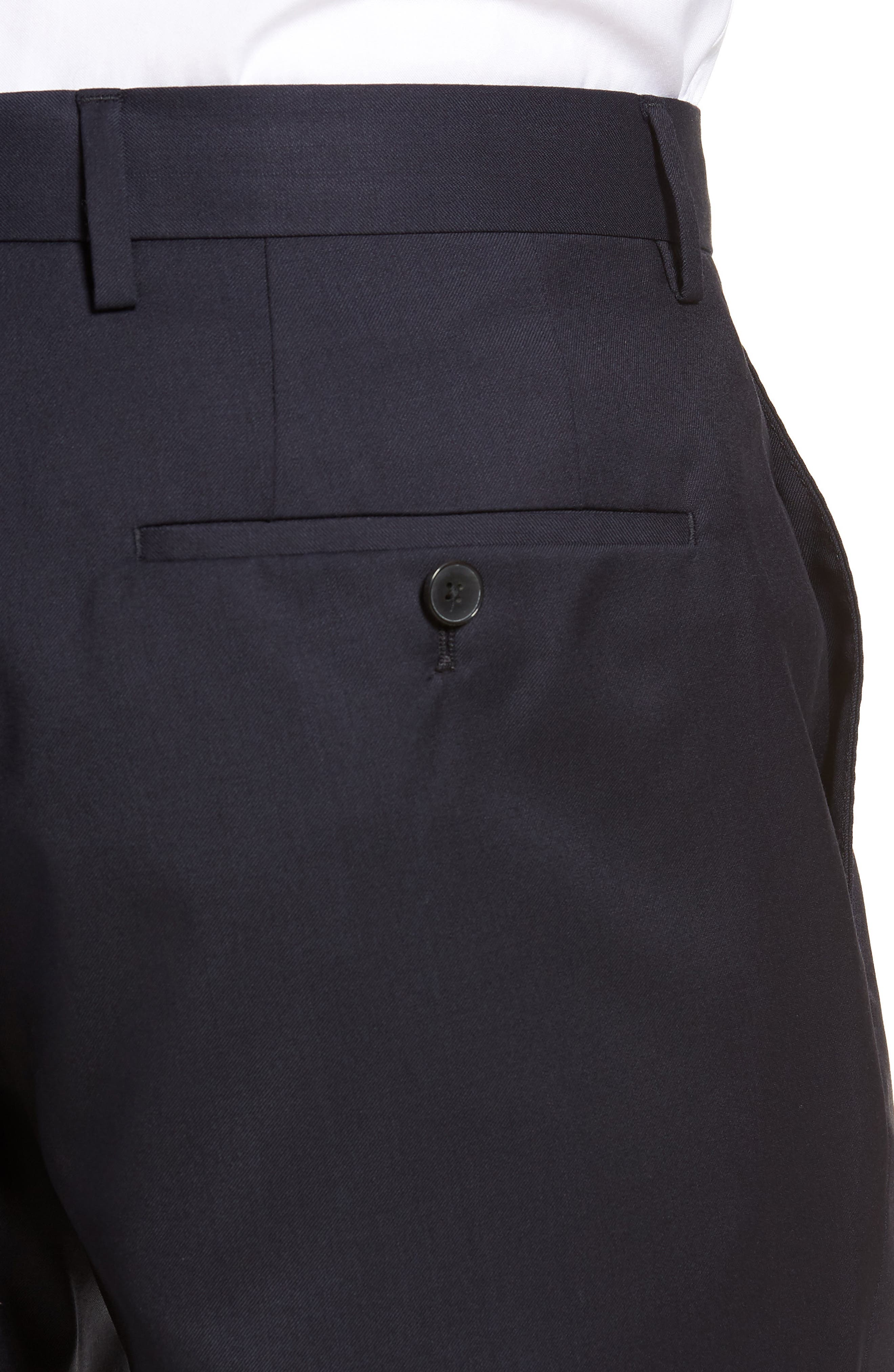 Gibson CYL Flat Front Solid Wool Trousers,                             Alternate thumbnail 4, color,                             Dark Blue