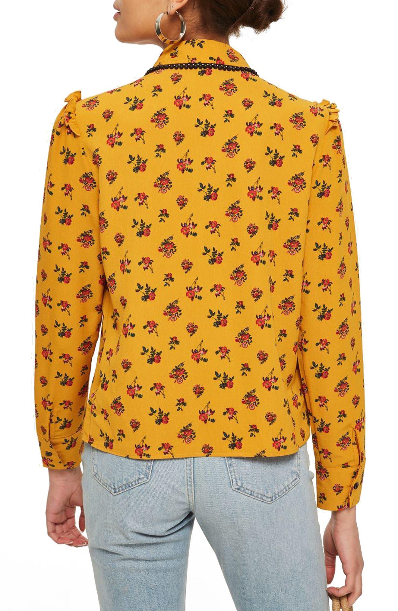Rodeo Floral Retro Shirt,                             Alternate thumbnail 2, color,                             Mustard