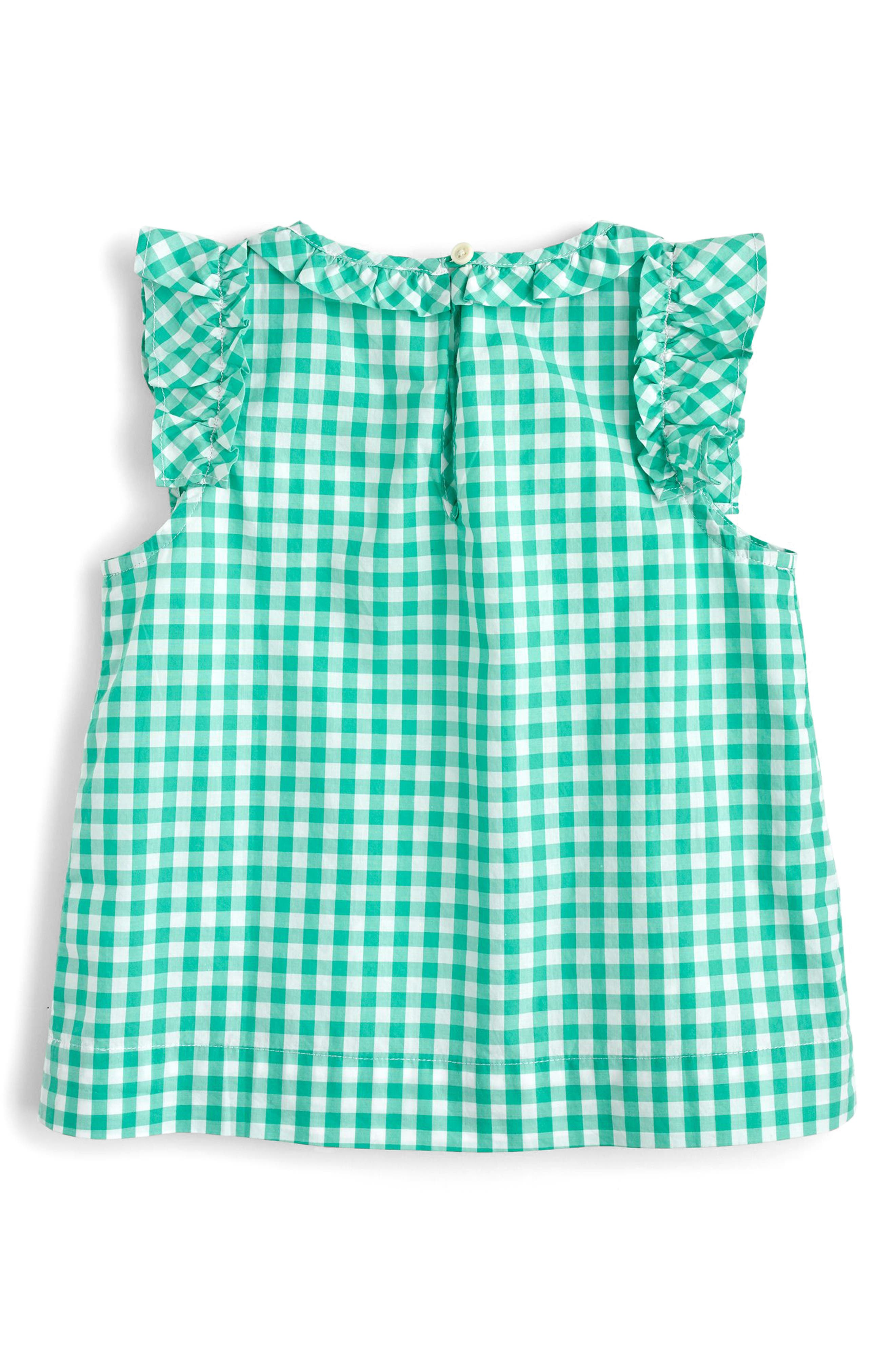 Sarah Ruffle Sleeve Gingham Top,                             Alternate thumbnail 2, color,                             Marine Green