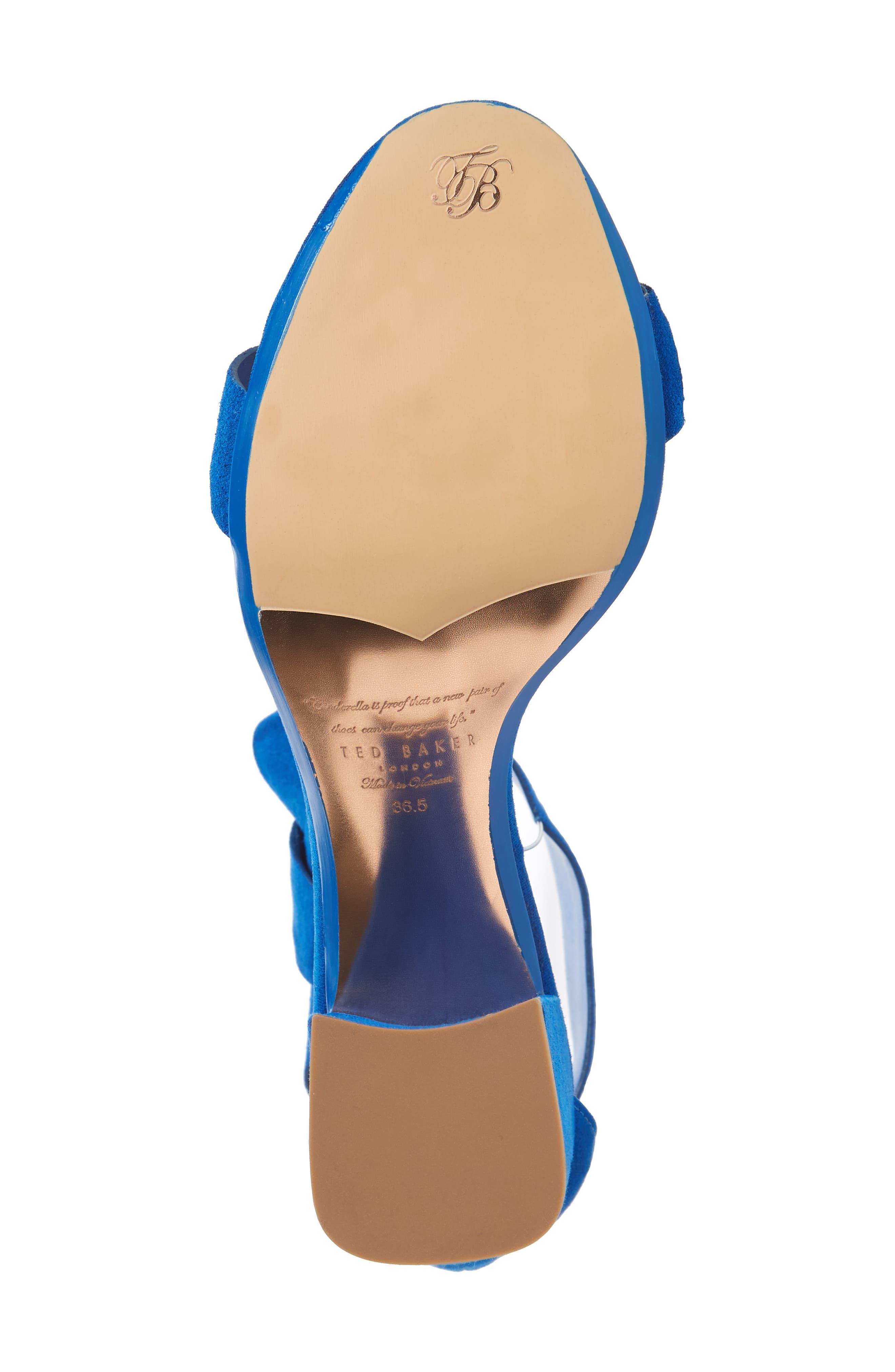 Kerrias Block Heel Sandal,                             Alternate thumbnail 6, color,                             Blue Suede