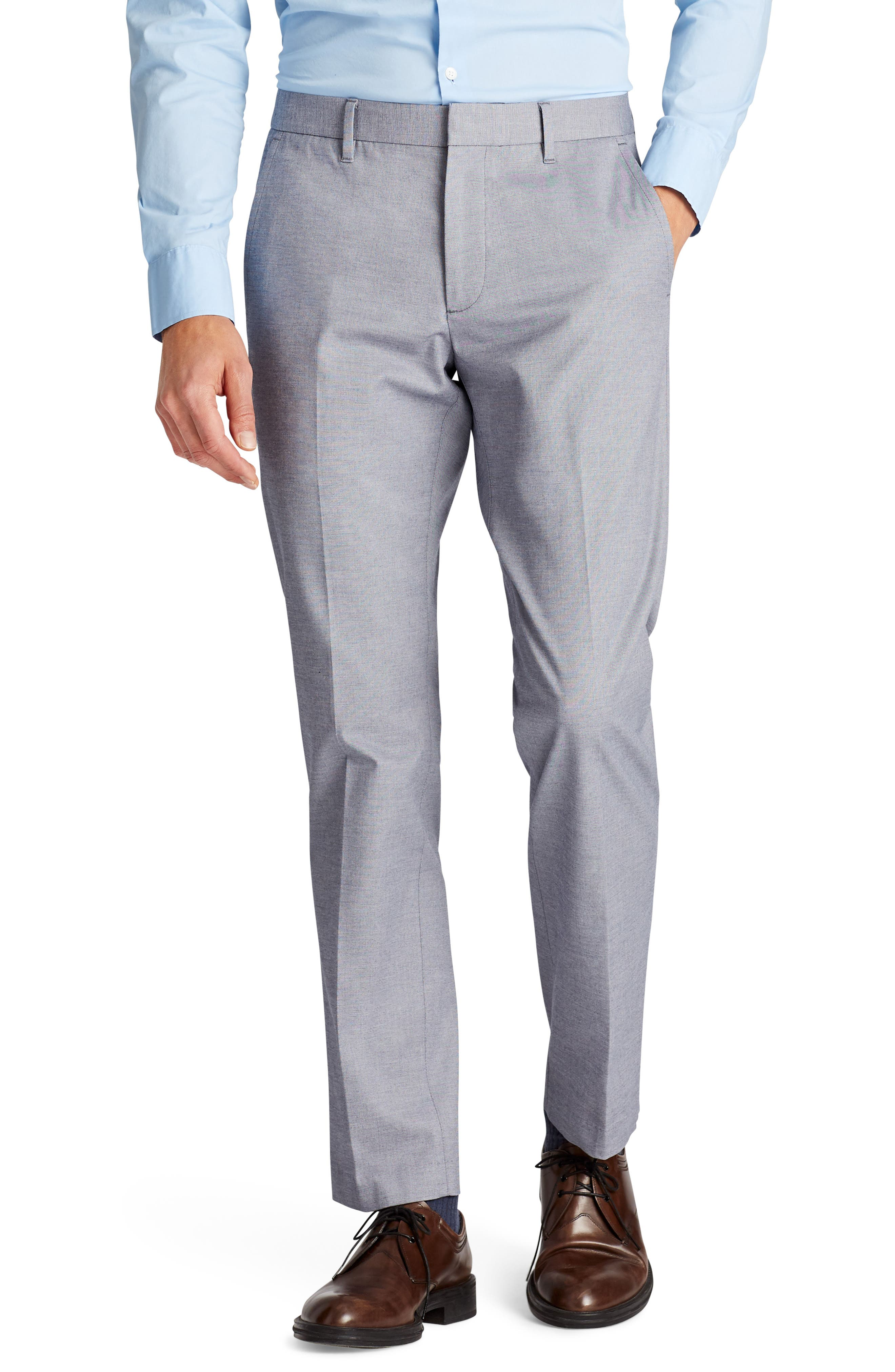 Weekday Warrior Flat Front Stretch Cotton Pants,                         Main,                         color, Navy