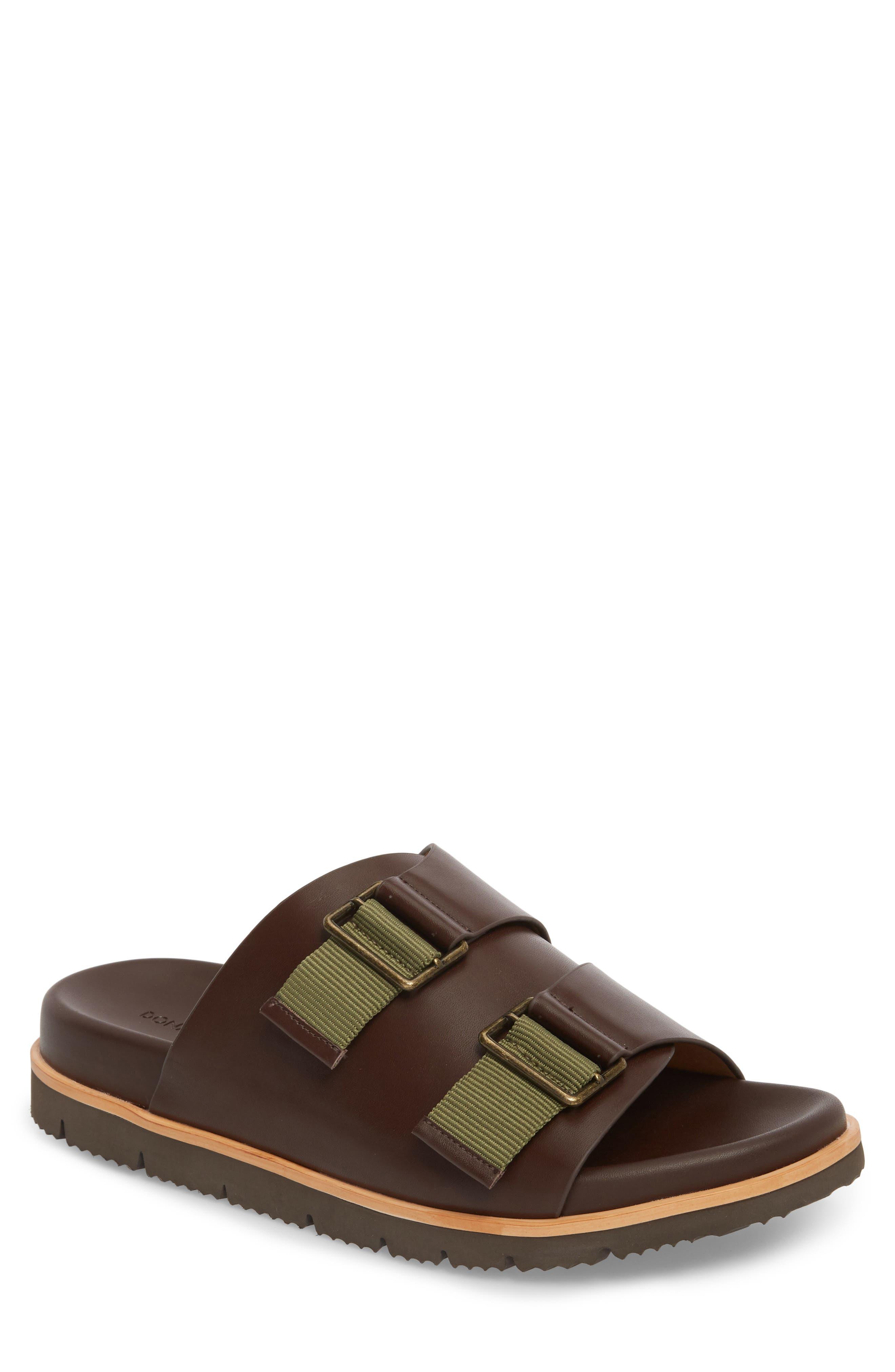 Slide Sandal,                             Main thumbnail 1, color,                             Expresso/ Tan Leather