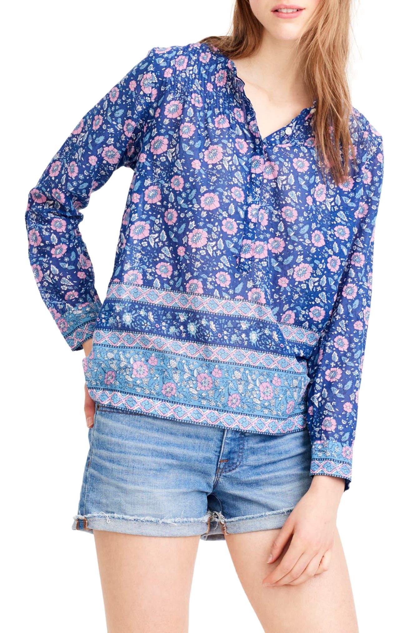 Cotton Voile Popover Shirt,                         Main,                         color, Blue Multi