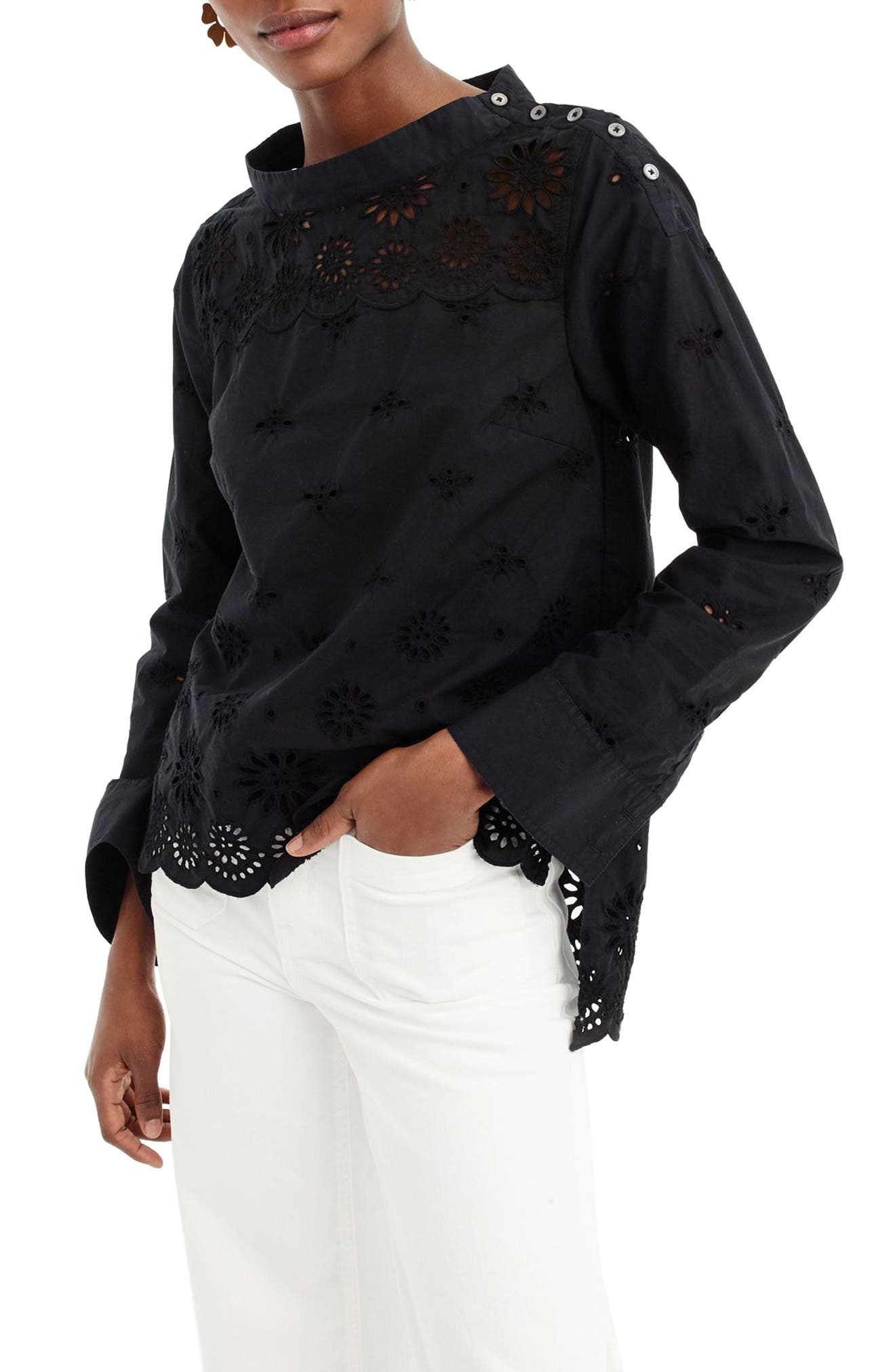 J.Crew Rooster Eyelet Cotton Top (Regular & Petite)