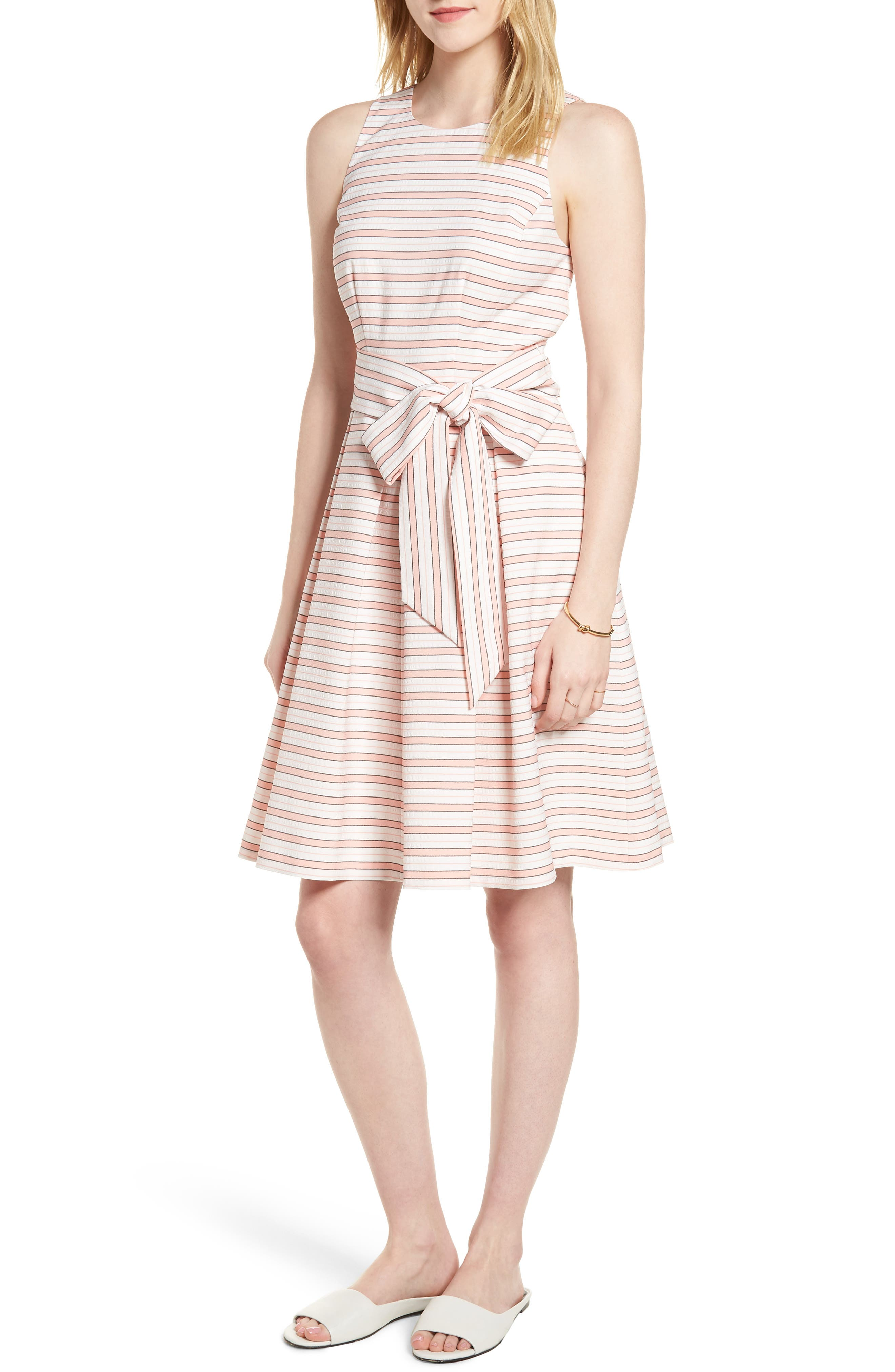 Stripe Tie Waist Dress,                             Main thumbnail 1, color,                             Pink Stripe