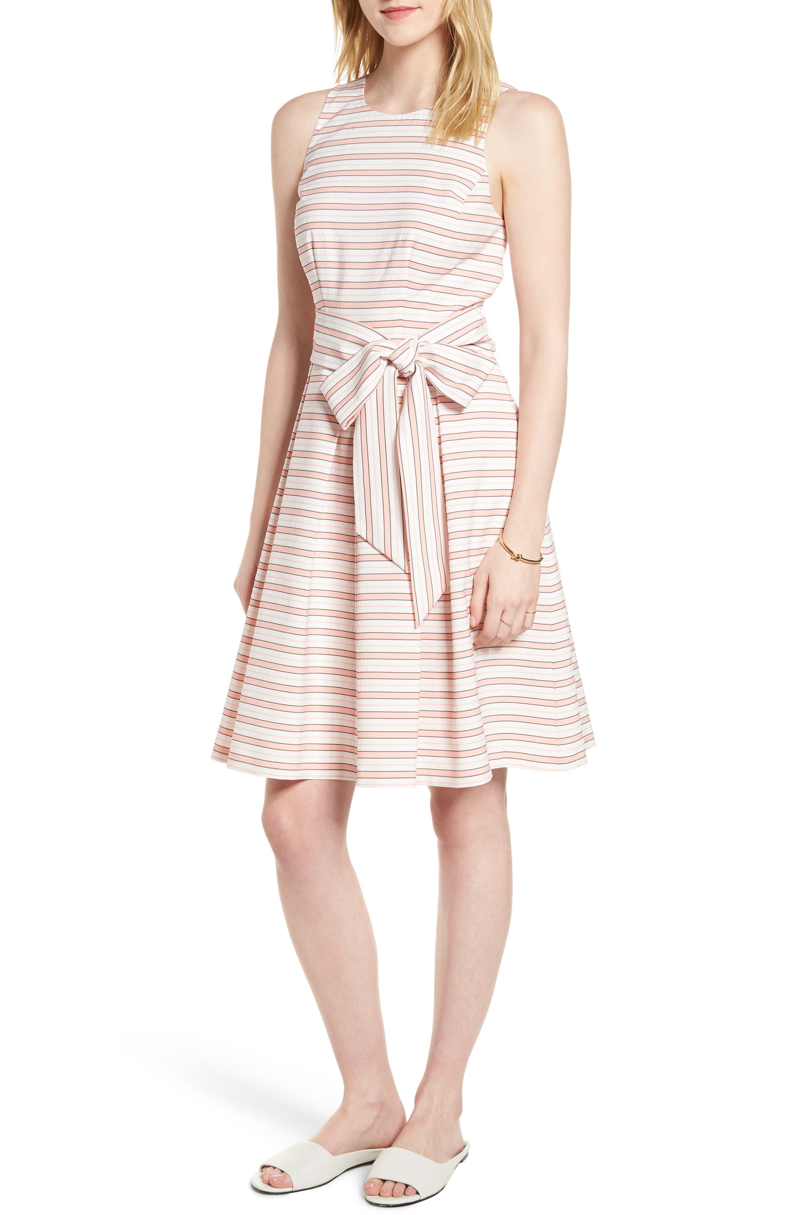 Stripe Tie Waist Dress,                         Main,                         color, Pink Stripe