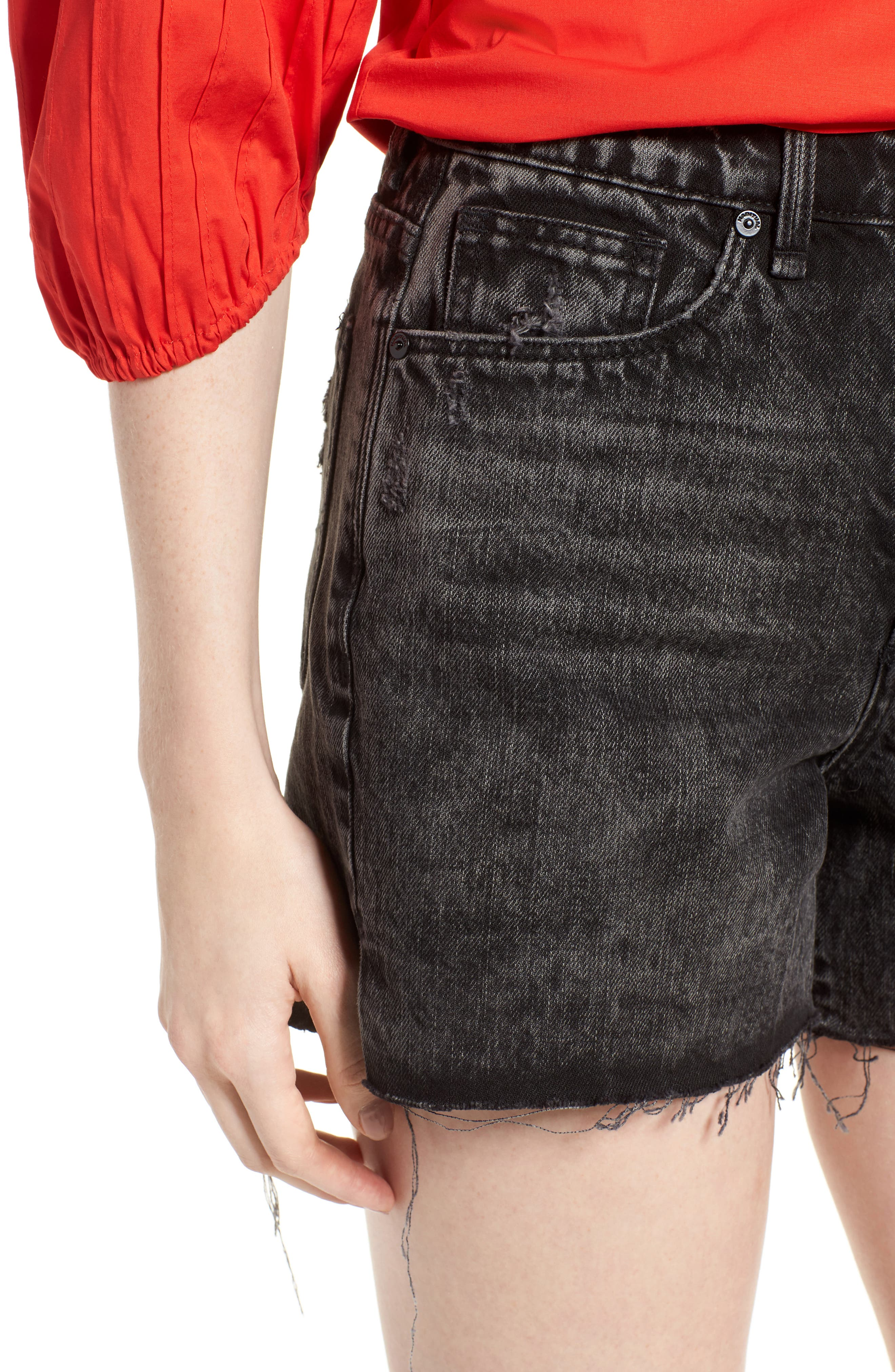 Maddie High Rise Raw Edge Denim Shorts,                             Alternate thumbnail 4, color,                             Obsidian