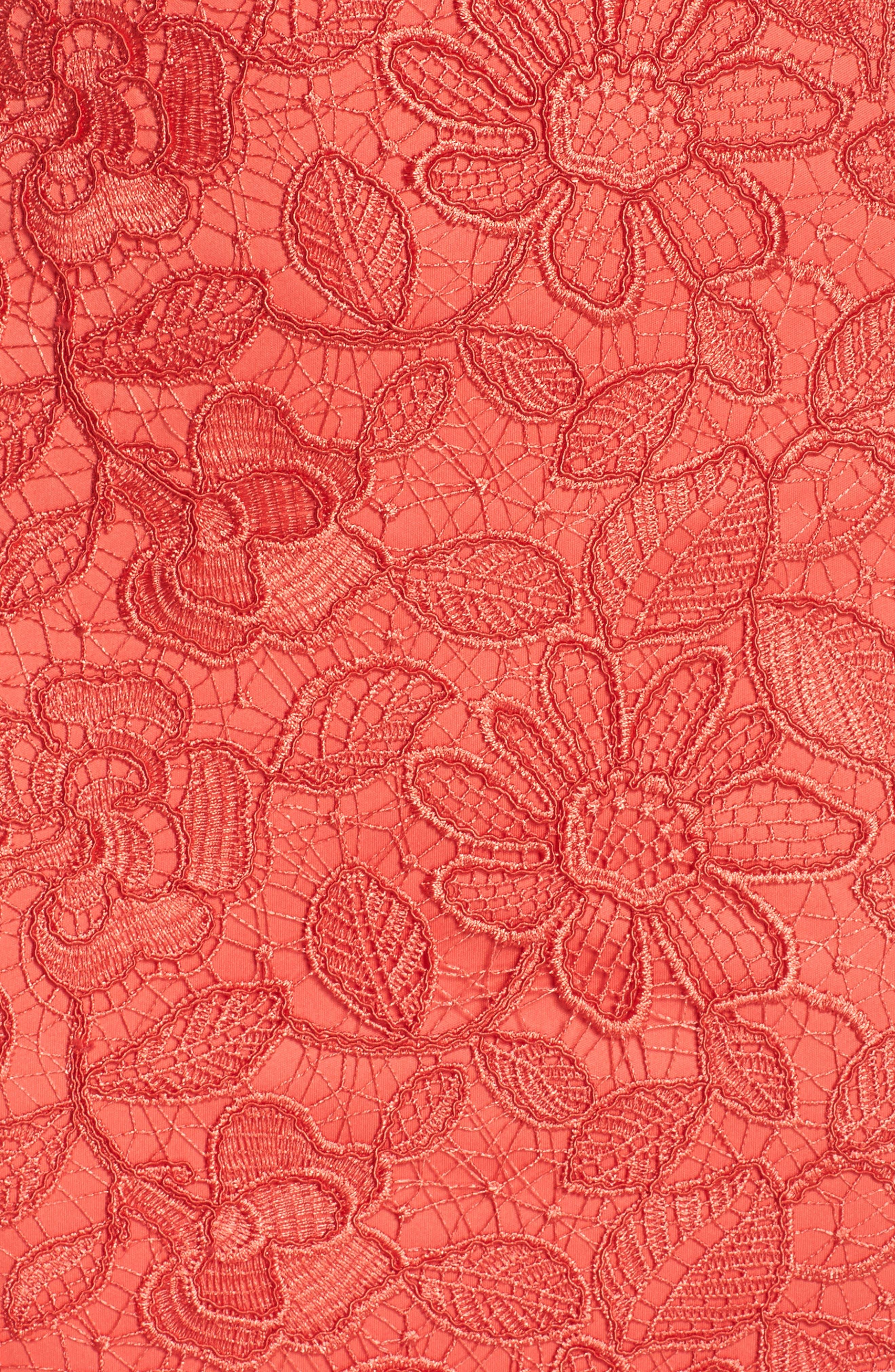 Floral Lace Trumpet Gown,                             Alternate thumbnail 5, color,                             Red/ Jasper