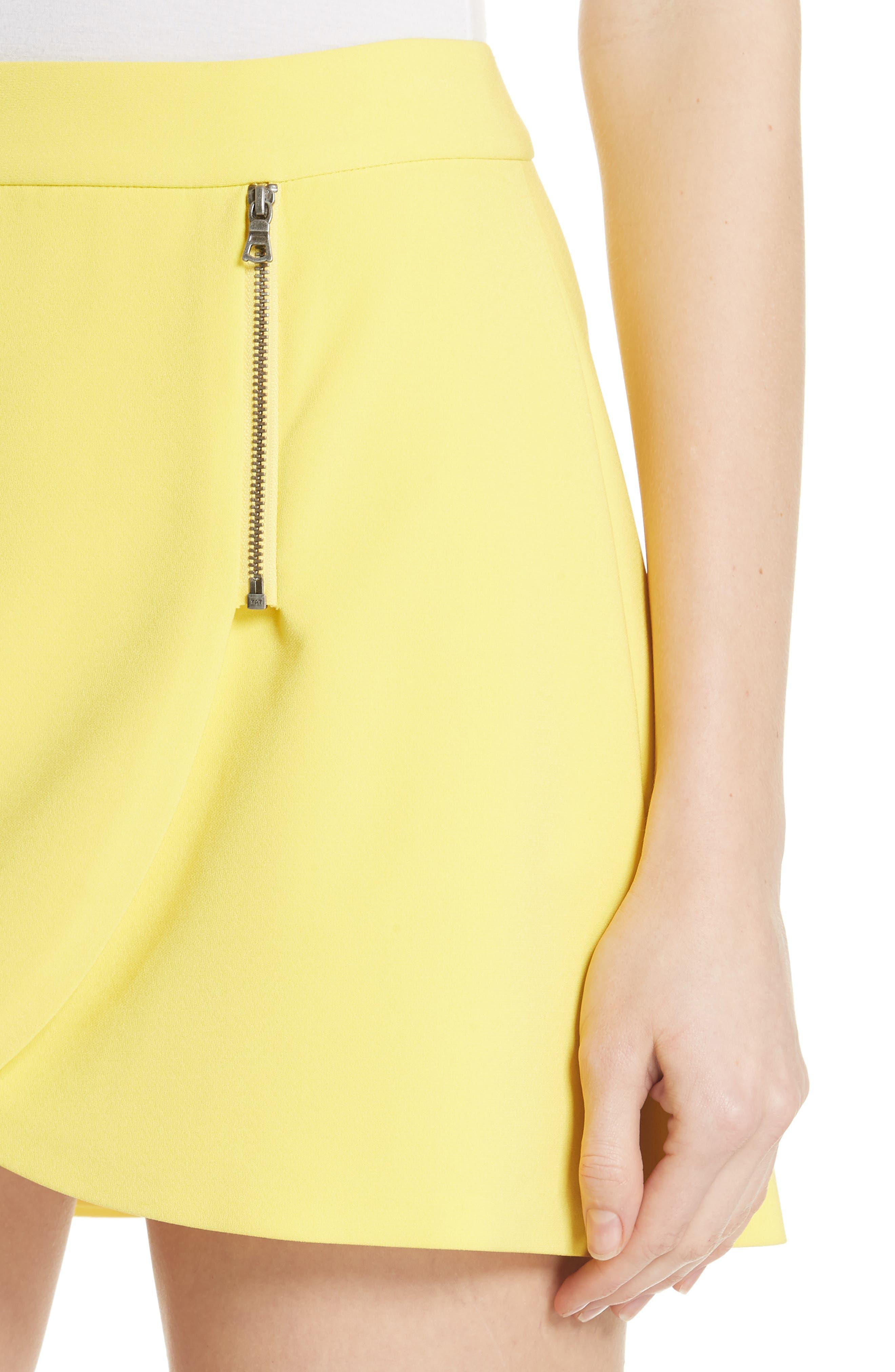 Lennon Side Zip Miniskirt,                             Alternate thumbnail 4, color,                             Lemon