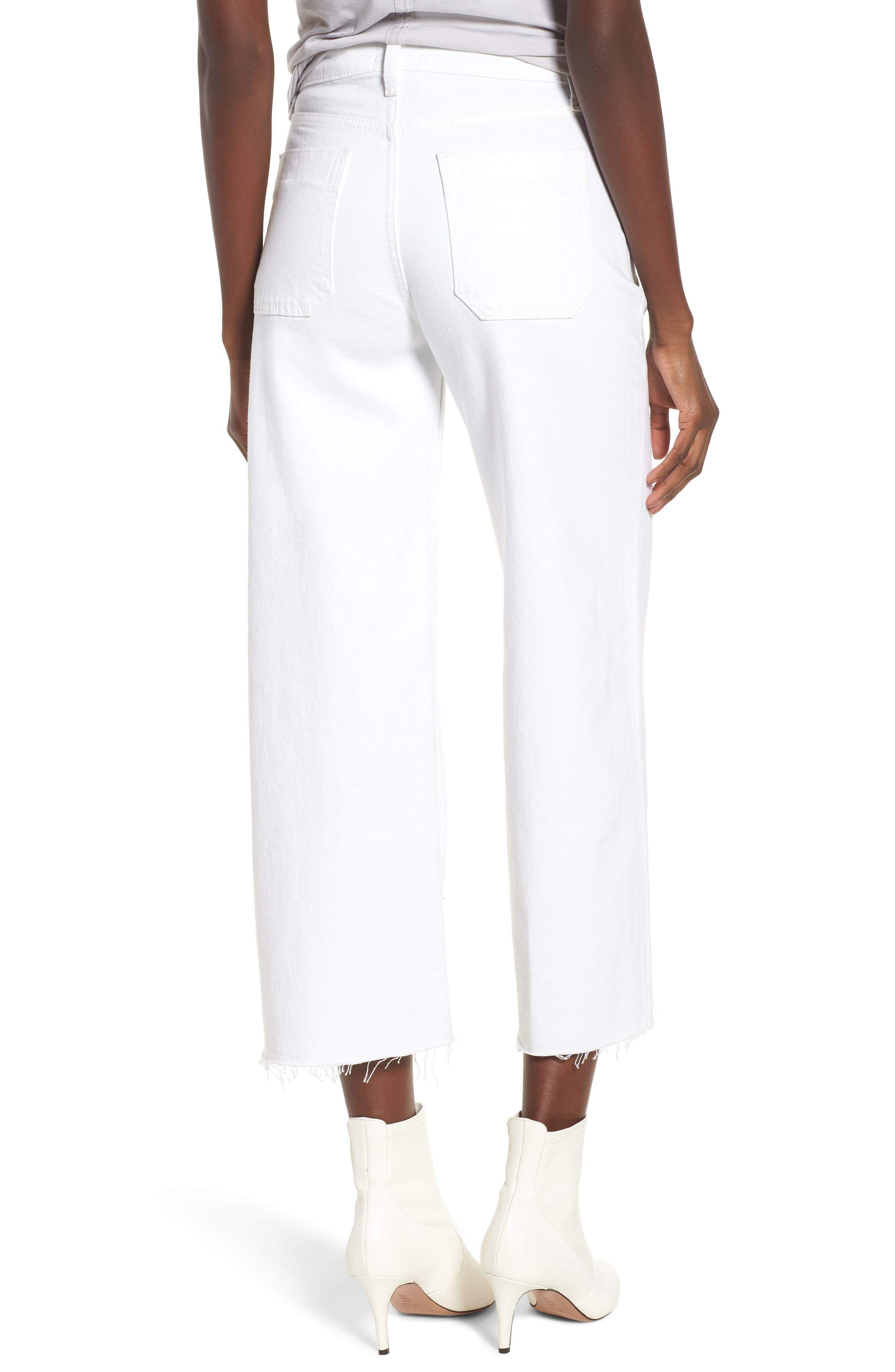 Holly High Waist Raw Hem Crop Wide Leg Jeans,                             Alternate thumbnail 2, color,                             White