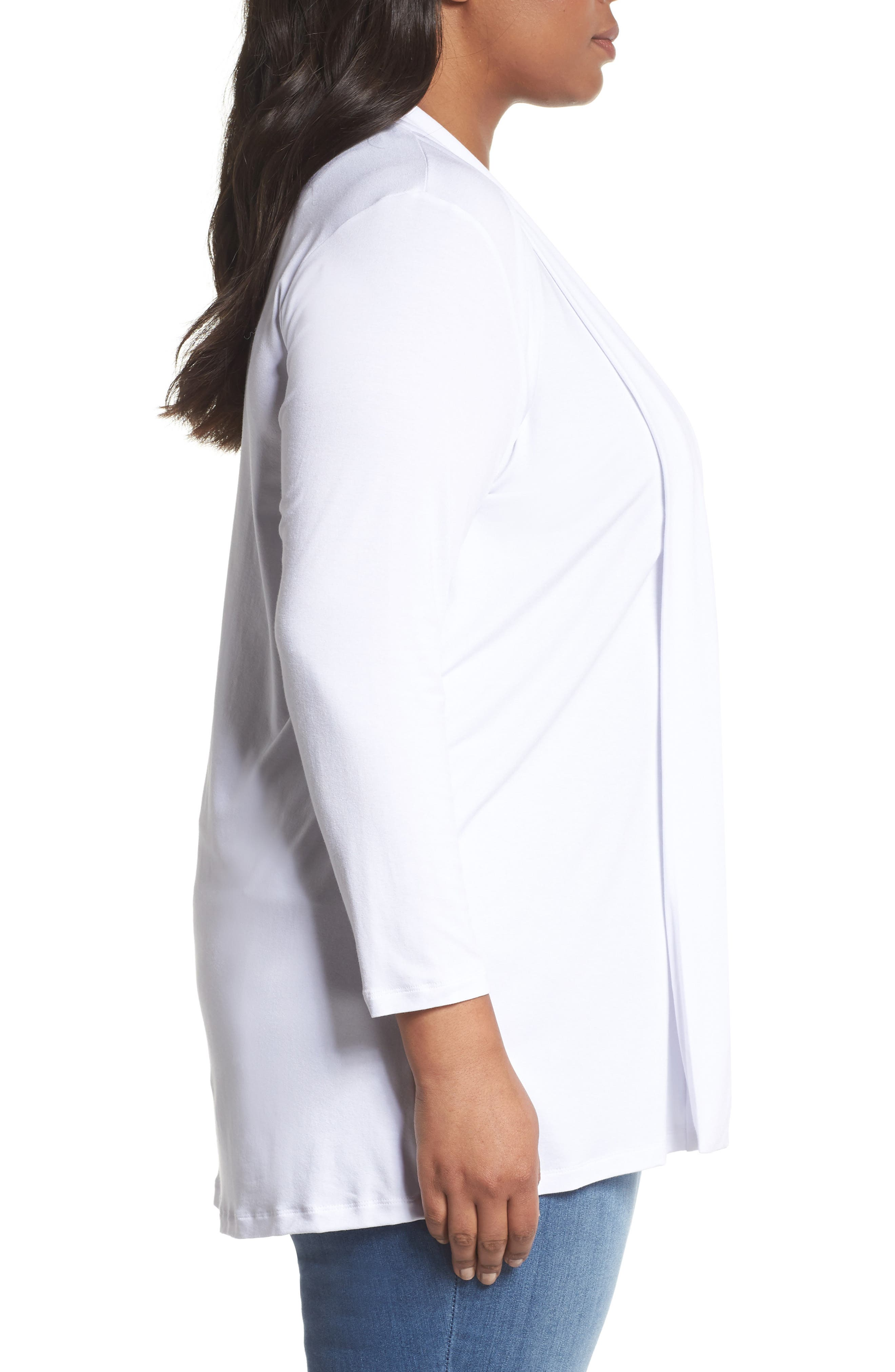 Open Front Cardigan,                             Alternate thumbnail 3, color,                             Ultra White