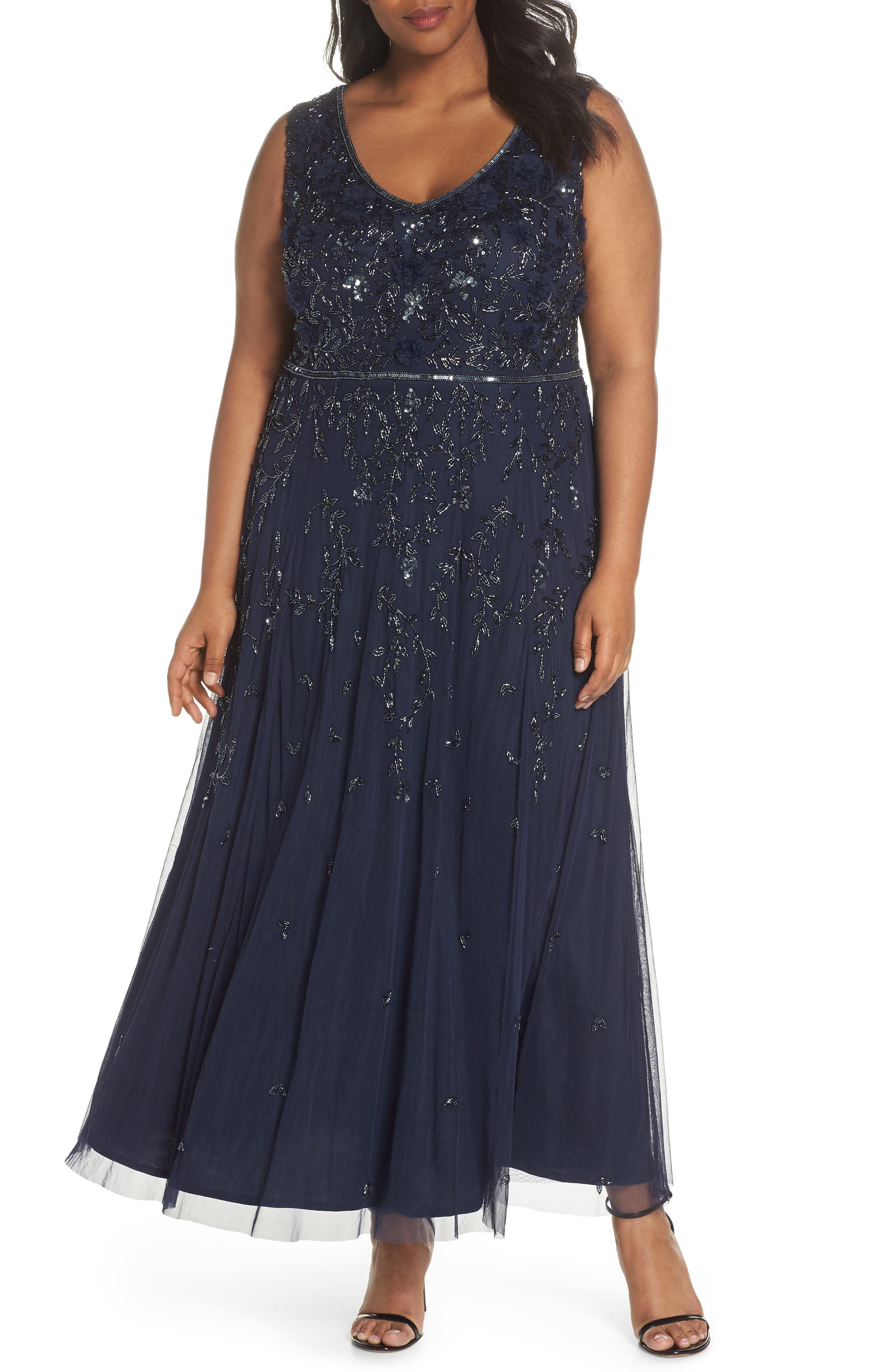 3D Embellished Mesh A-Line Gown,                         Main,                         color, Navy