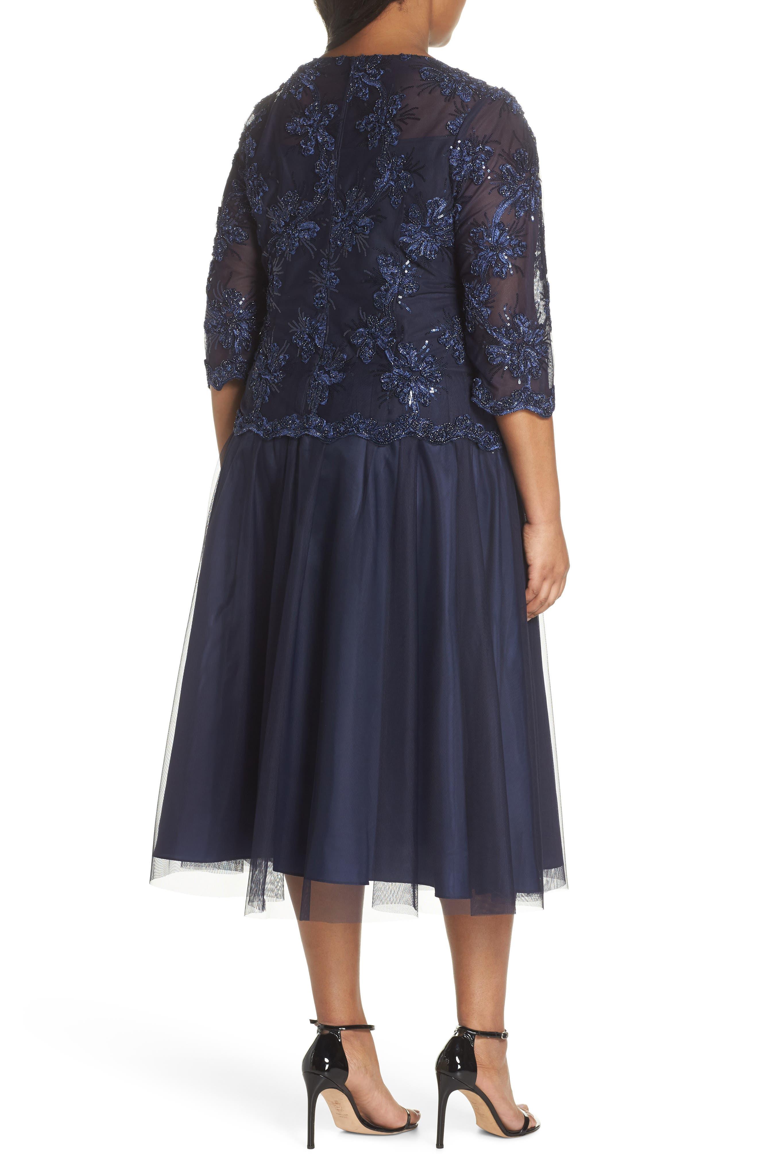 Embellished Bodice Tea Length Mesh Dress,                             Alternate thumbnail 2, color,                             Navy