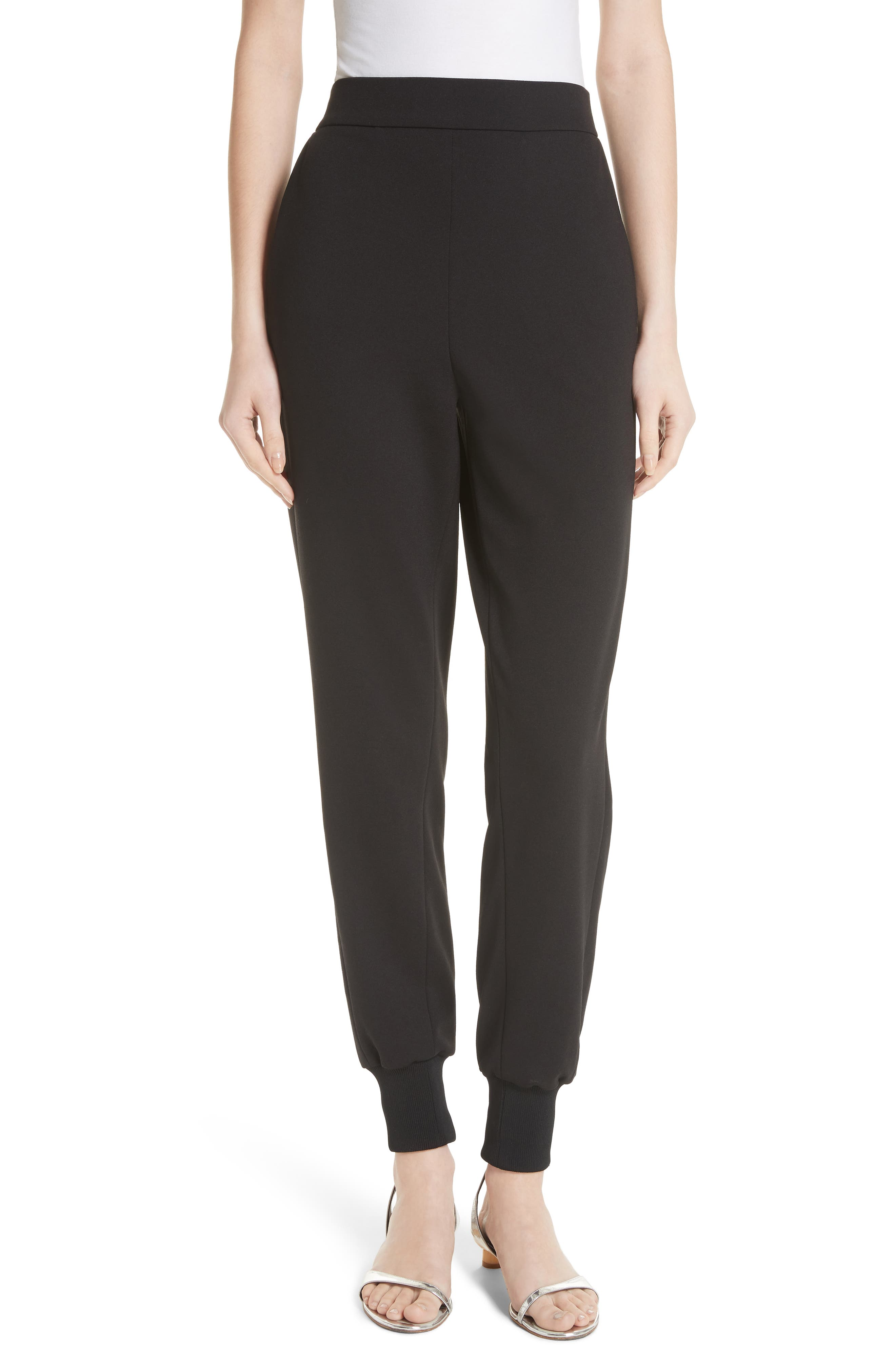 Structured Crepe Jogger Pants,                             Main thumbnail 1, color,                             Black