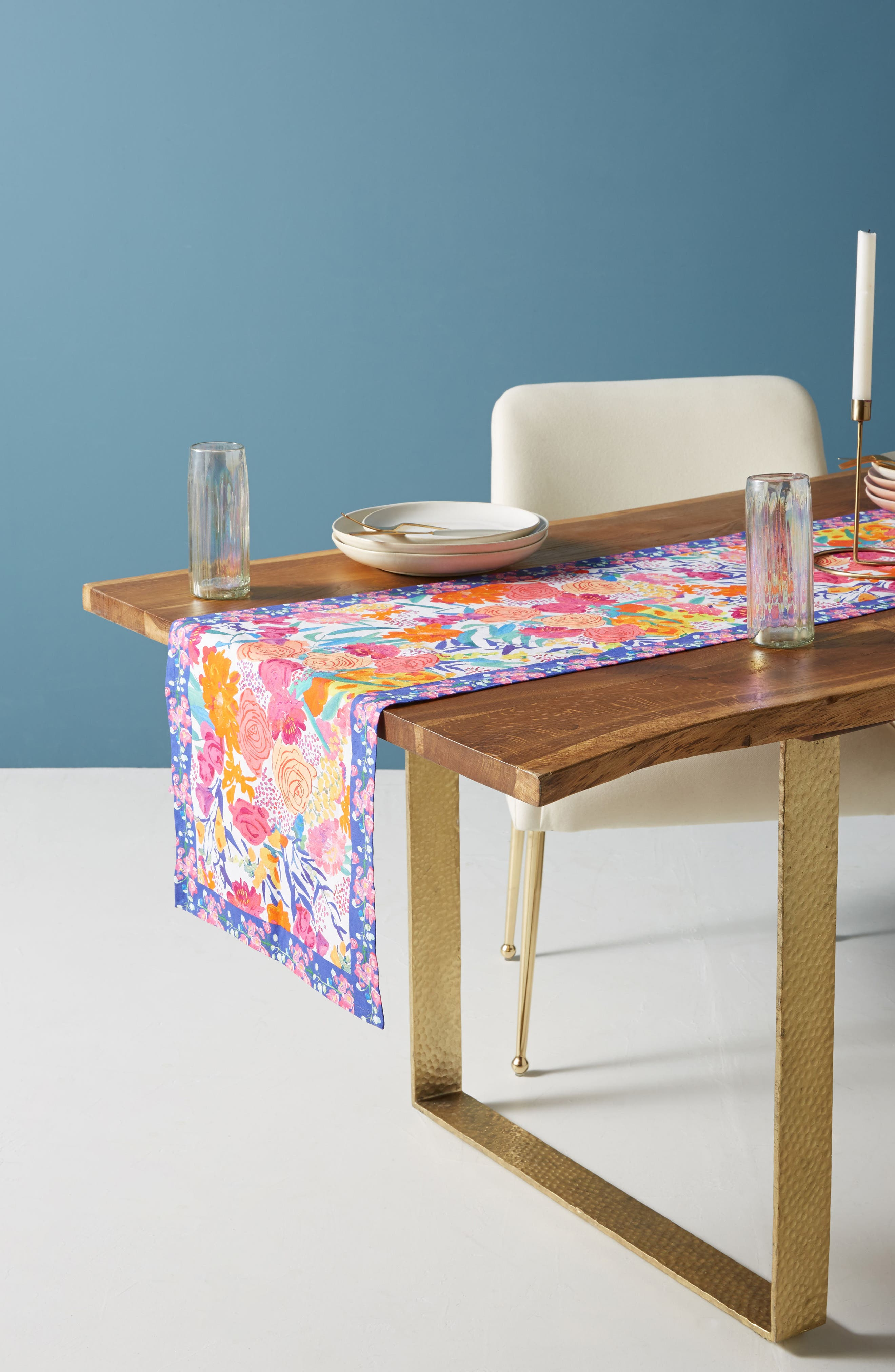 Paint + Petals Table Runner,                             Main thumbnail 1, color,                             White Multi