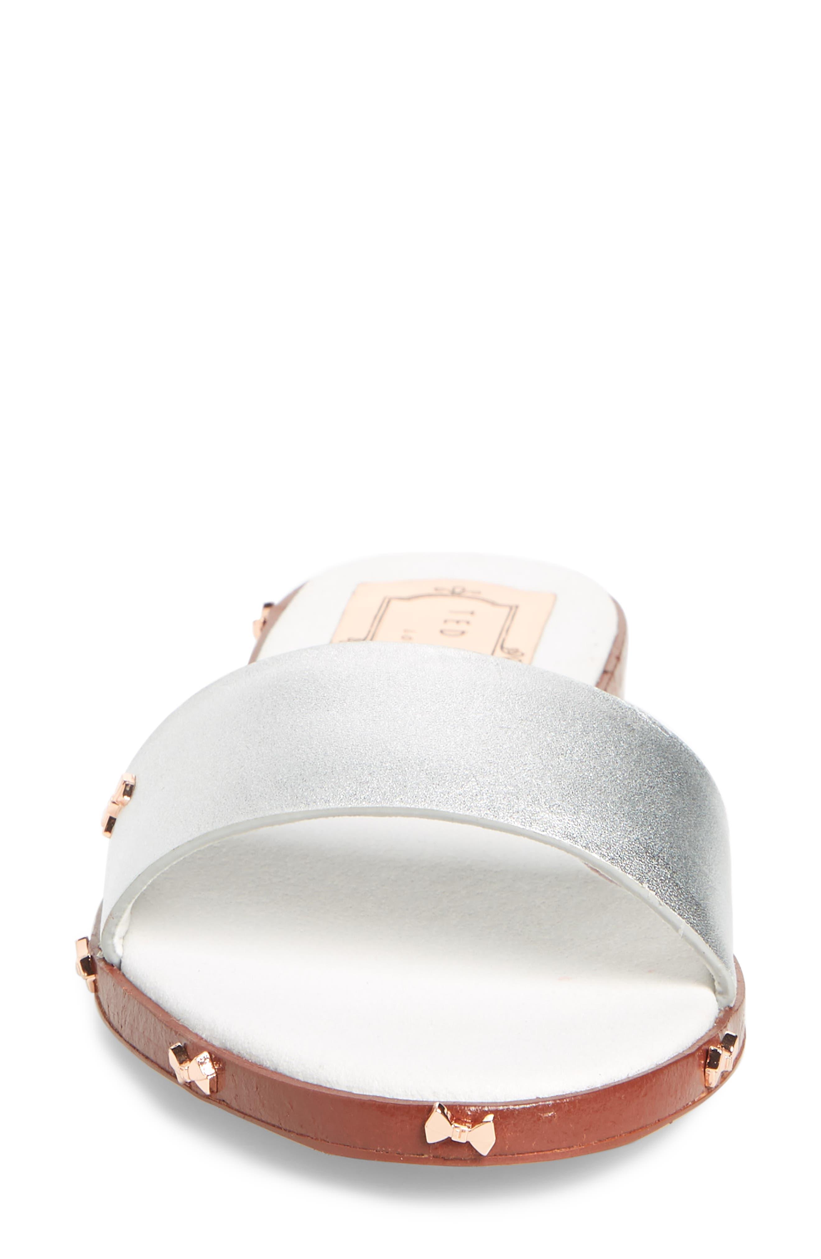 Kytti Slide Sandal,                             Alternate thumbnail 4, color,                             Silver Leather