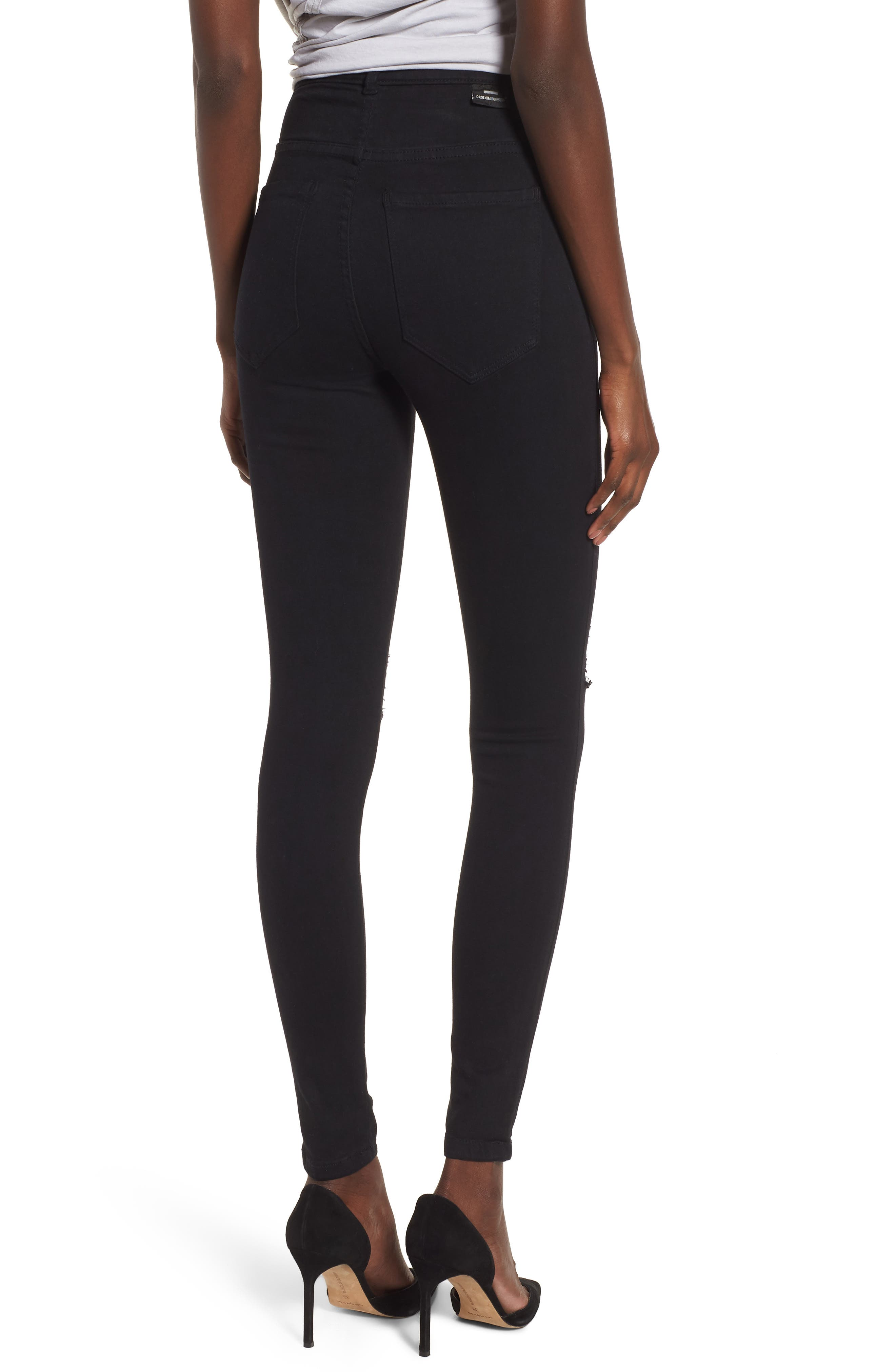 Moxy Ripped Knee Skinny Jeans,                             Alternate thumbnail 2, color,                             Black