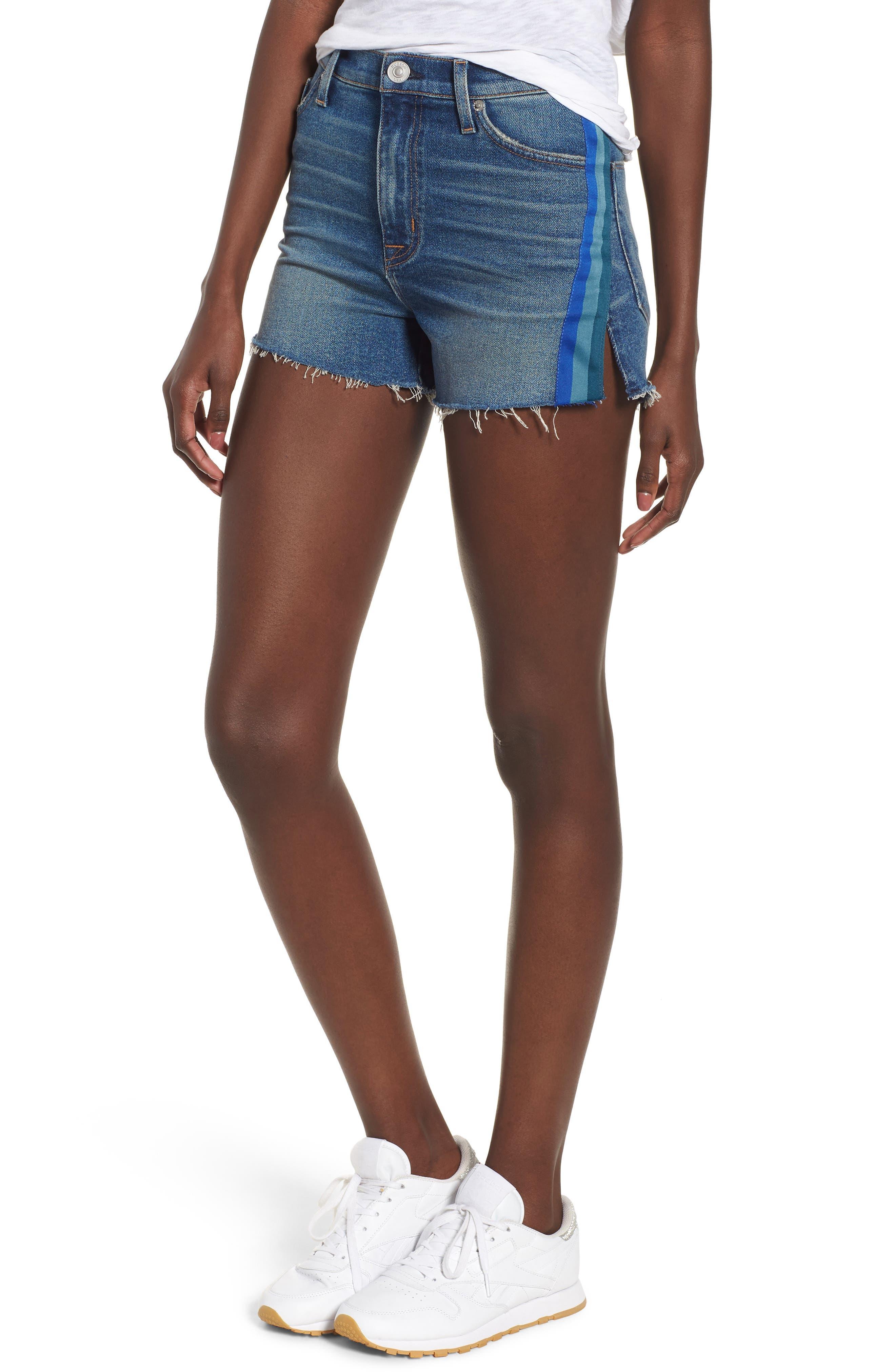 Sade Cutoff Denim Shorts,                             Main thumbnail 1, color,                             Sitting Pretty