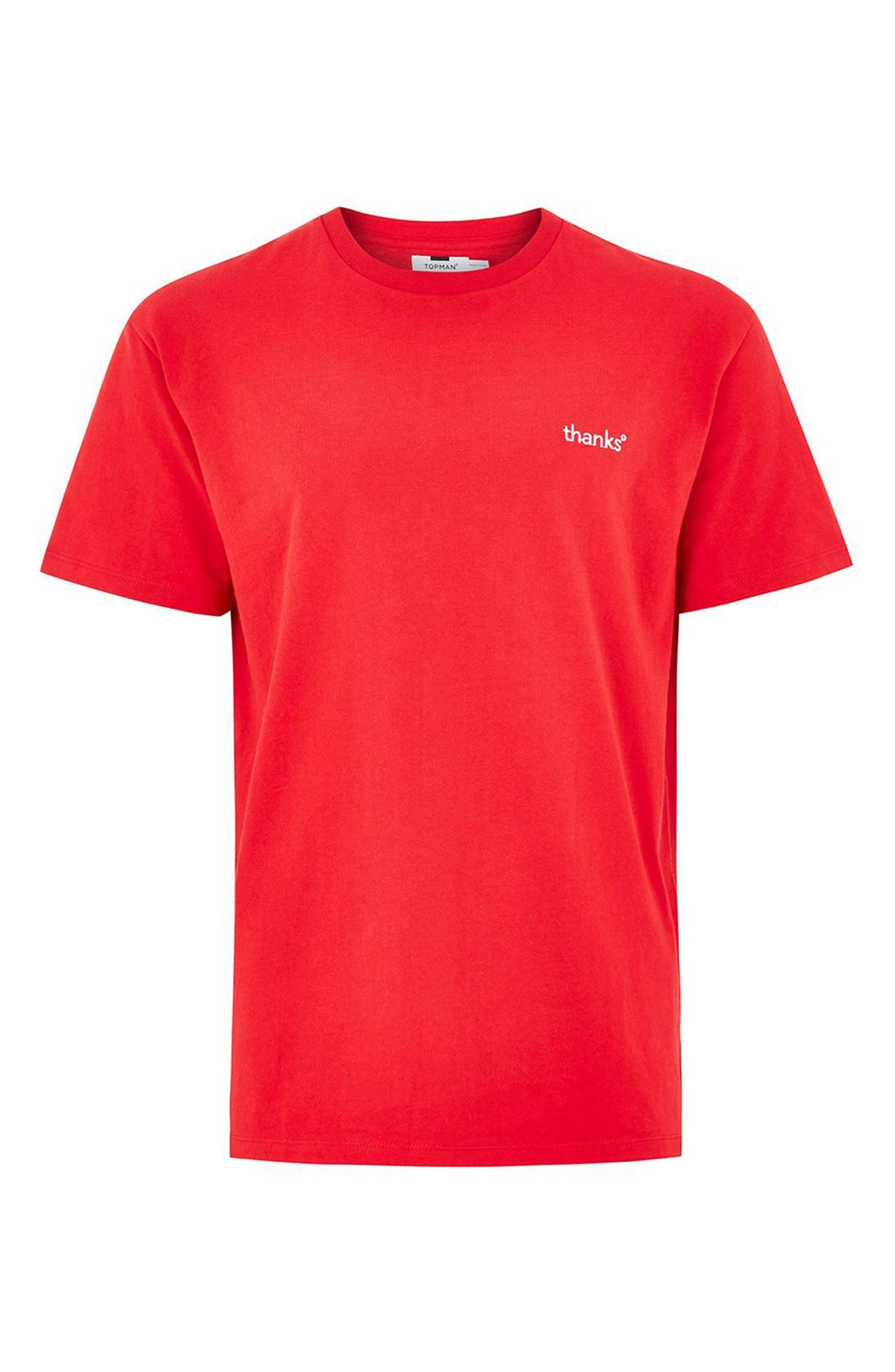 Oversize Embroidered Thanks T-Shirt,                             Alternate thumbnail 4, color,                             Red