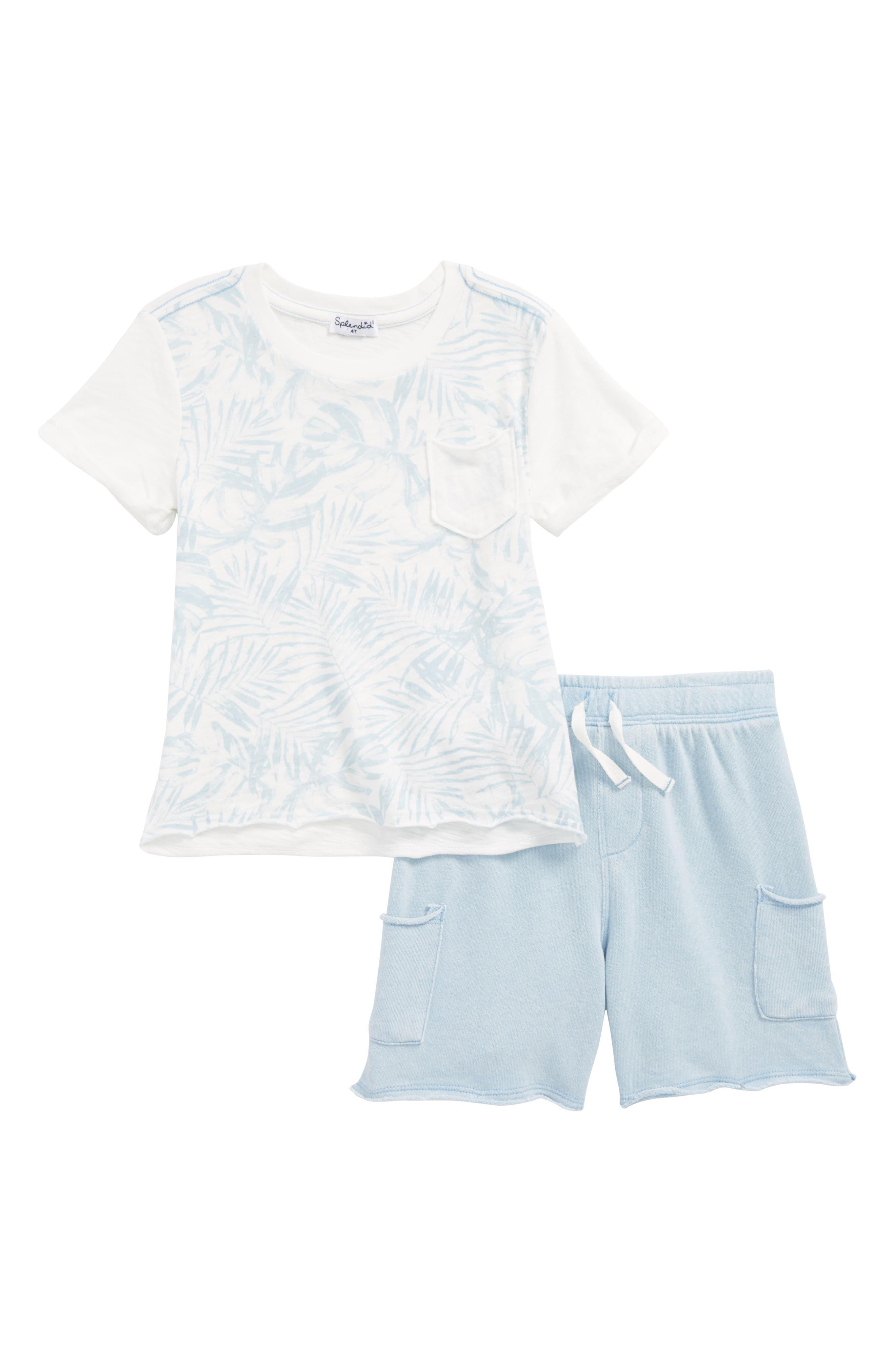 Pocket T-Shirt & Shorts Set,                             Main thumbnail 1, color,                             Full Sail