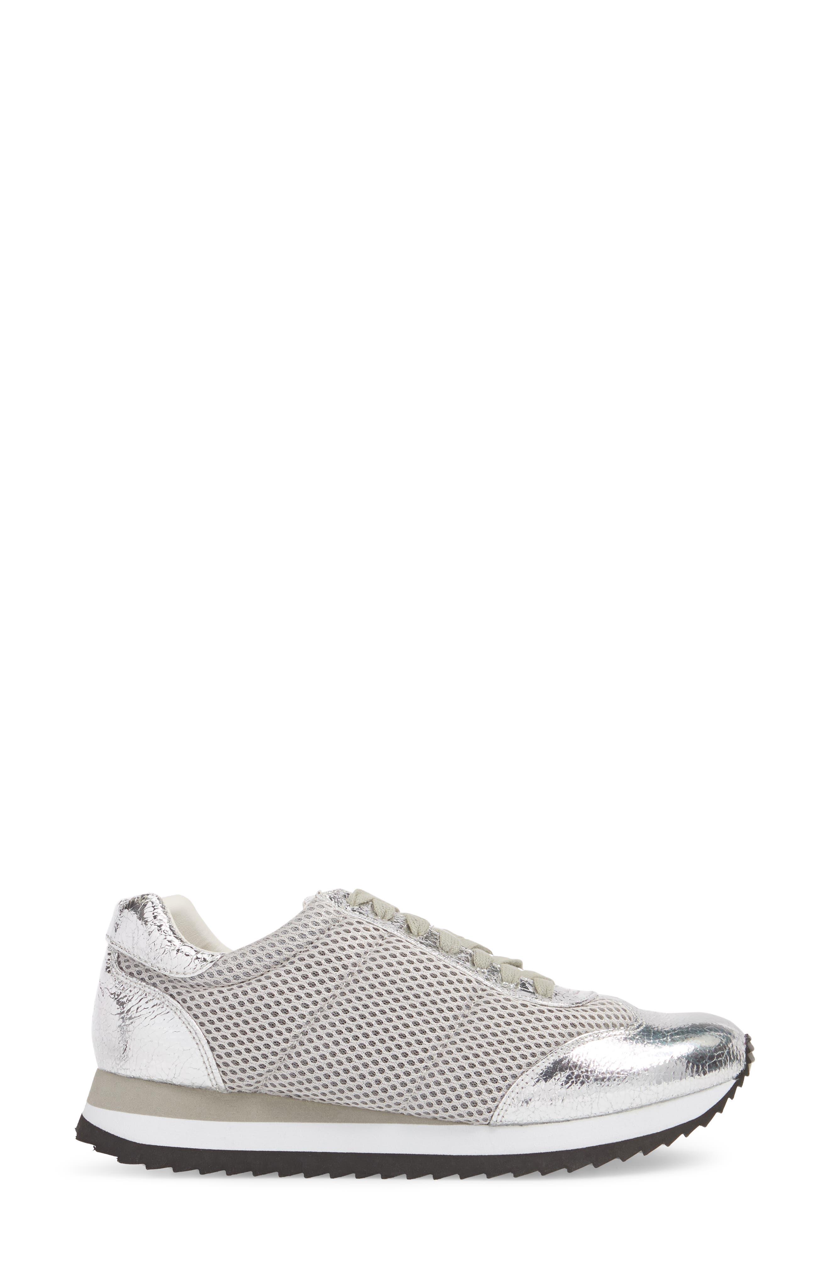 Jaclyn Mesh Sneaker,                             Alternate thumbnail 3, color,                             Silver
