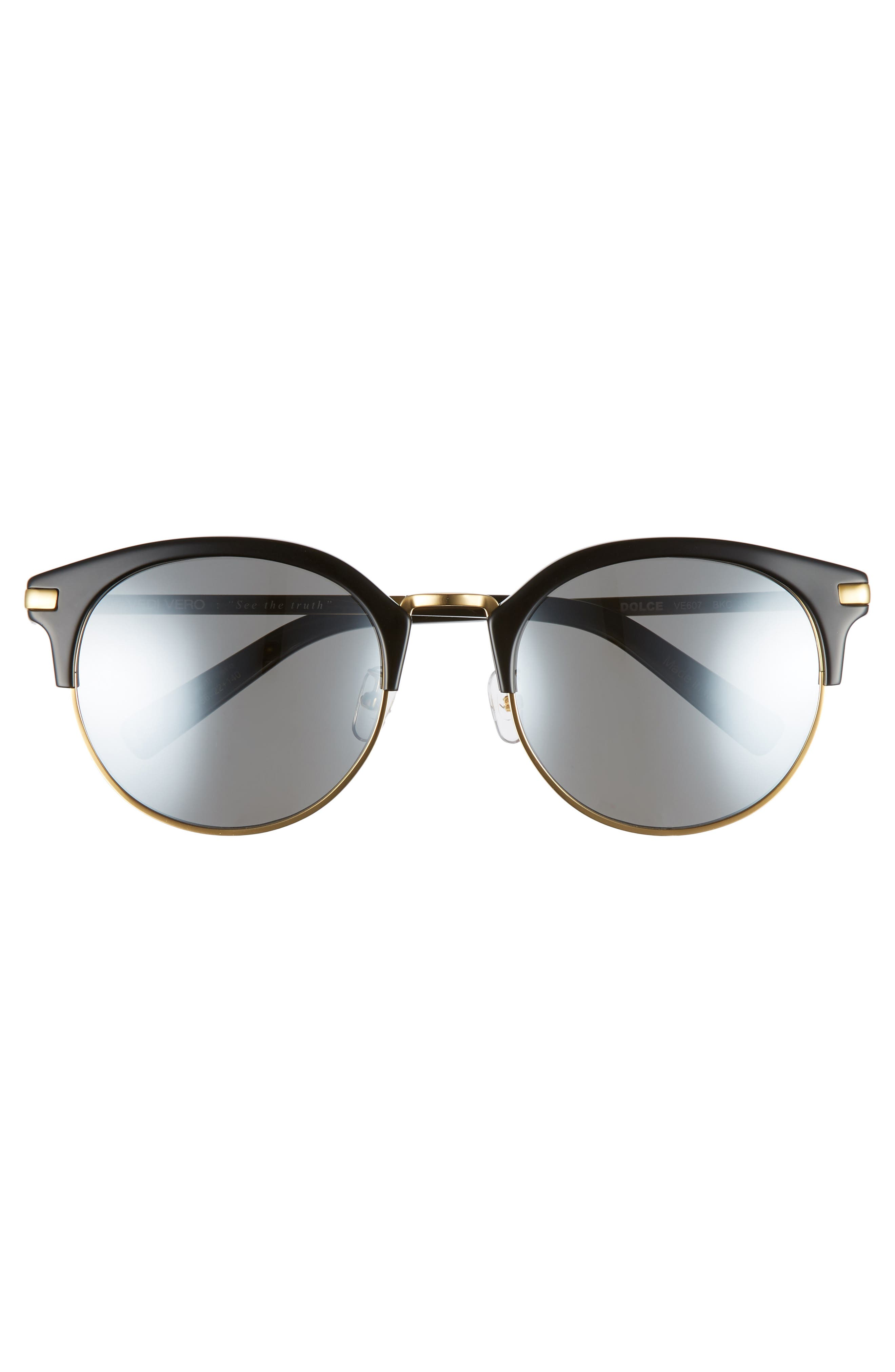 56mm Round Sunglasses,                             Alternate thumbnail 3, color,                             Gold And Black/Blue Mirror