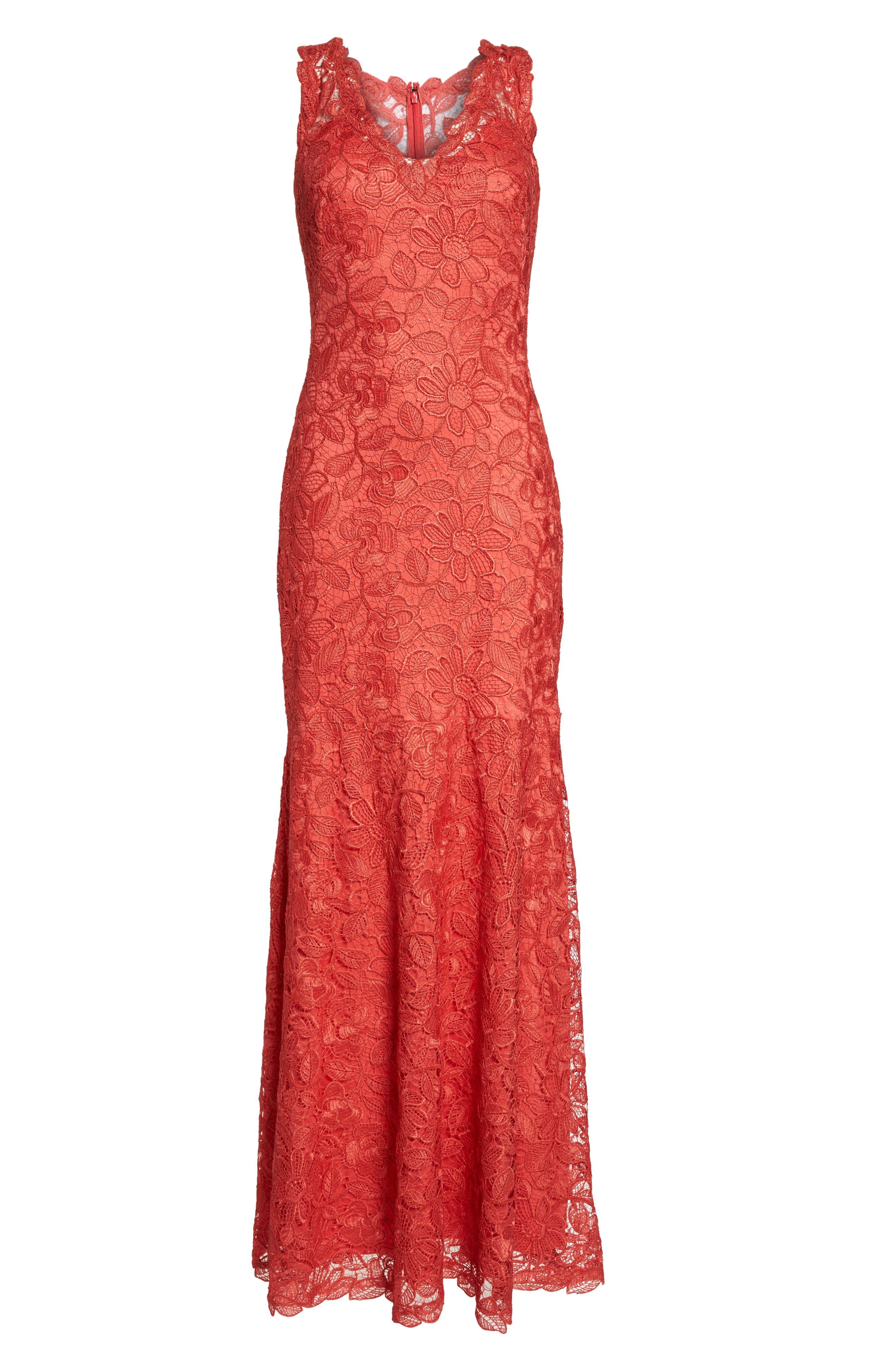 Floral Lace Trumpet Gown,                             Alternate thumbnail 6, color,                             Red/ Jasper