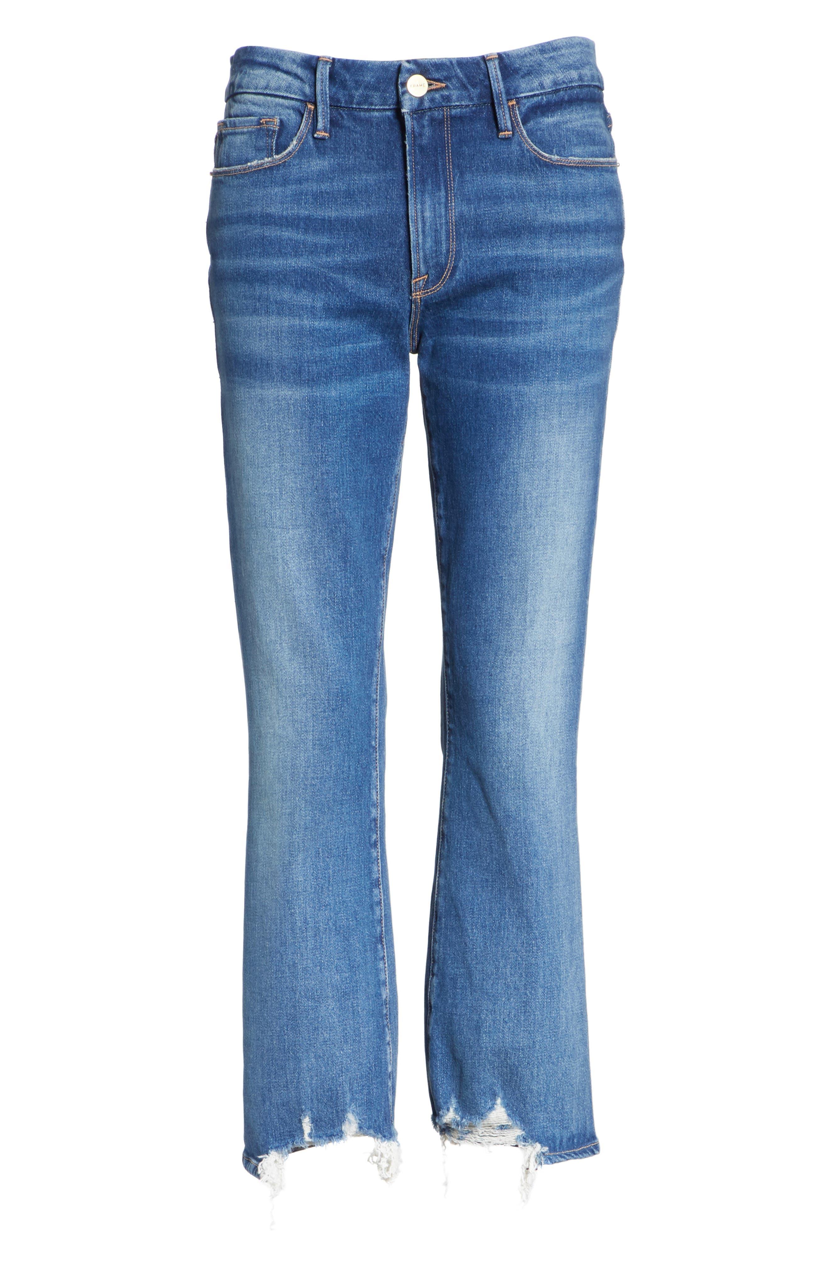 Le Crop Mini Boot Raw Hem Jeans,                             Alternate thumbnail 6, color,                             Clappson