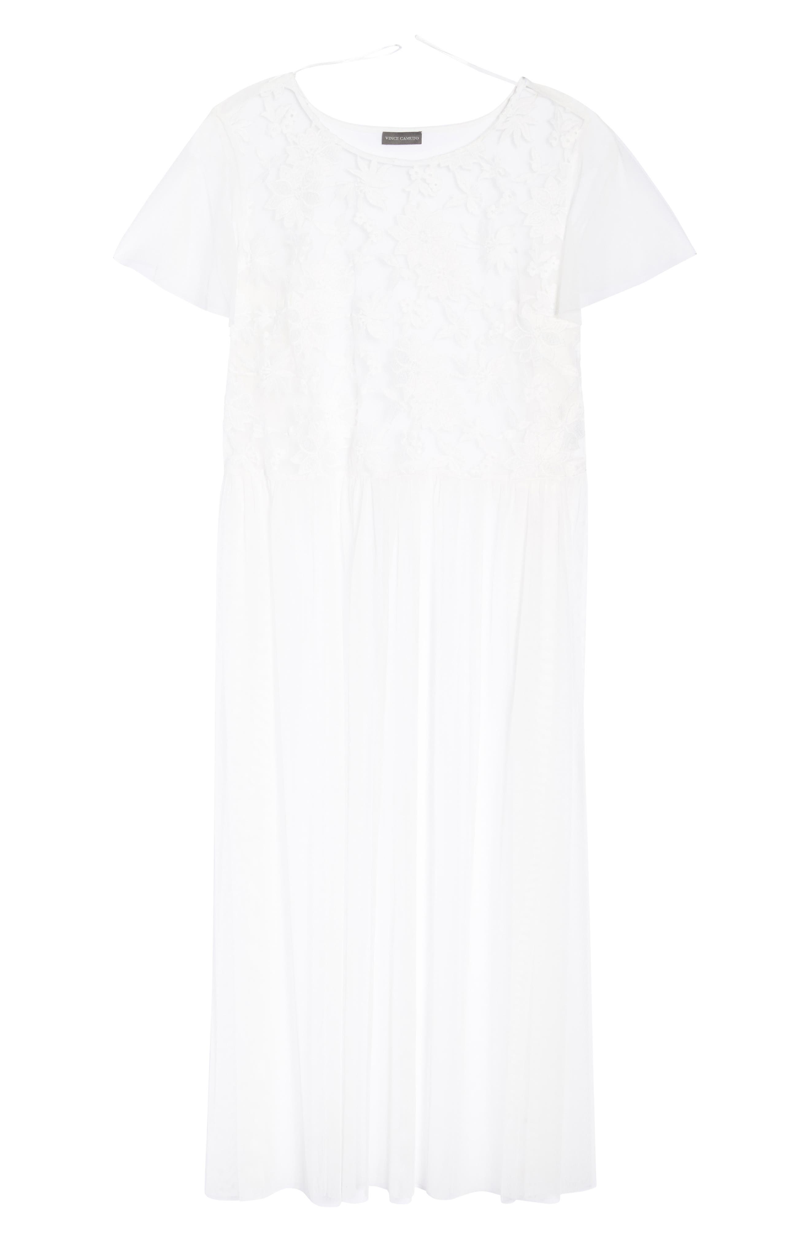 Flutter Sleeve Embroidered Mesh Tunic,                             Alternate thumbnail 7, color,                             Ultra White