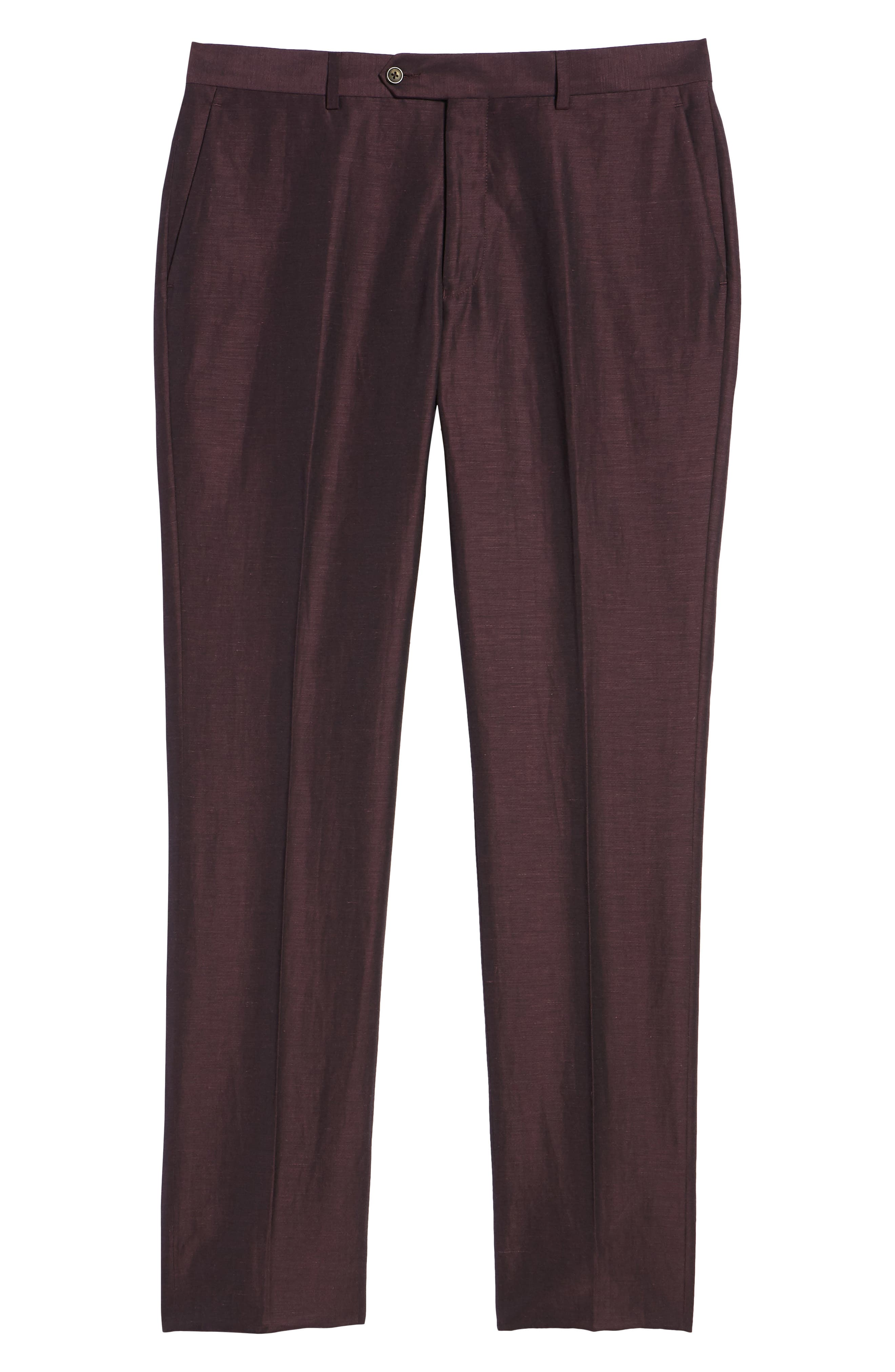 Dagger Flat Front Solid Wool & Linen Trousers,                             Alternate thumbnail 6, color,                             Plum