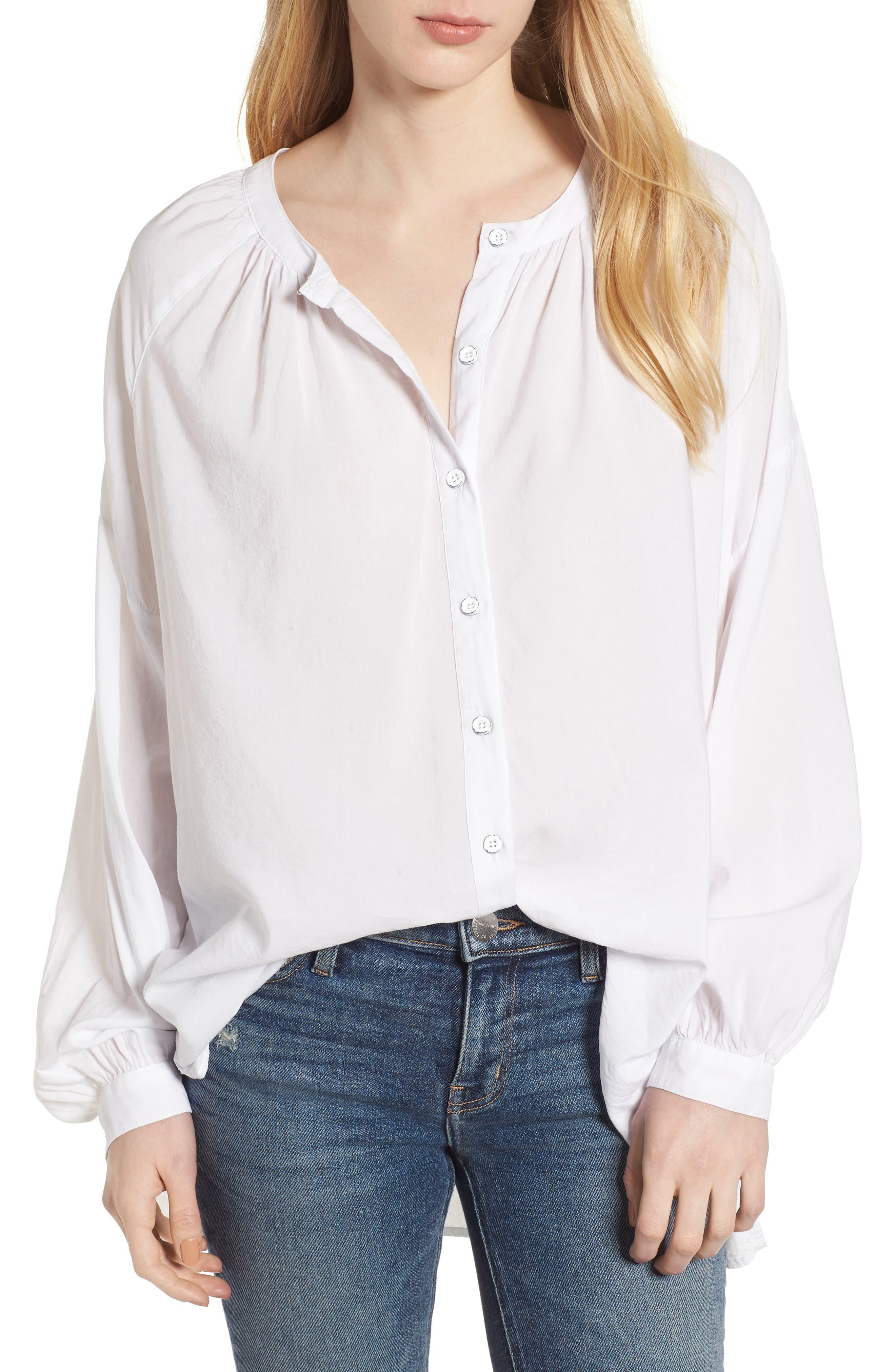 Cotton Blend Voile Blouse,                         Main,                         color, Paper