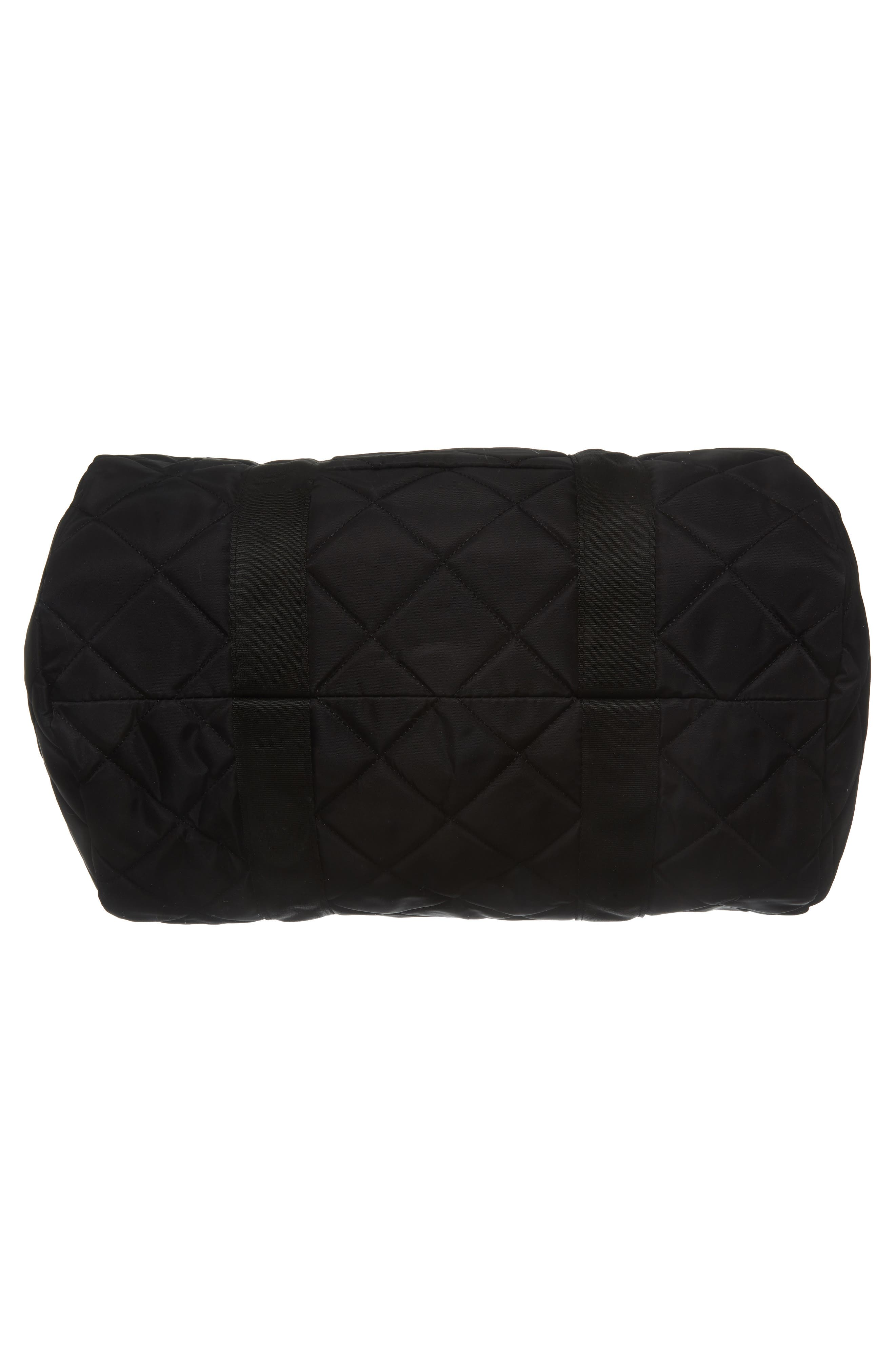 Roadie Small Duffel Bag,                             Alternate thumbnail 6, color,                             Quilted Black Nylon
