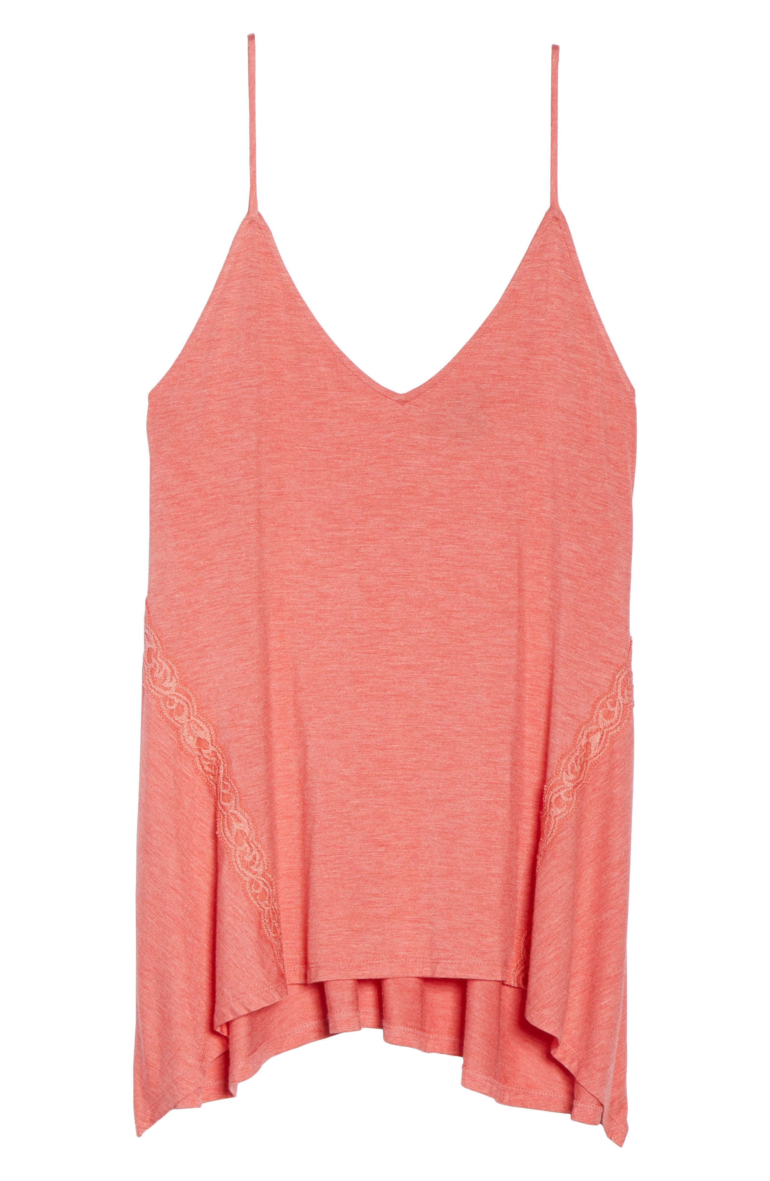 Feathers Essential Camisole,                             Alternate thumbnail 6, color,                             Coral