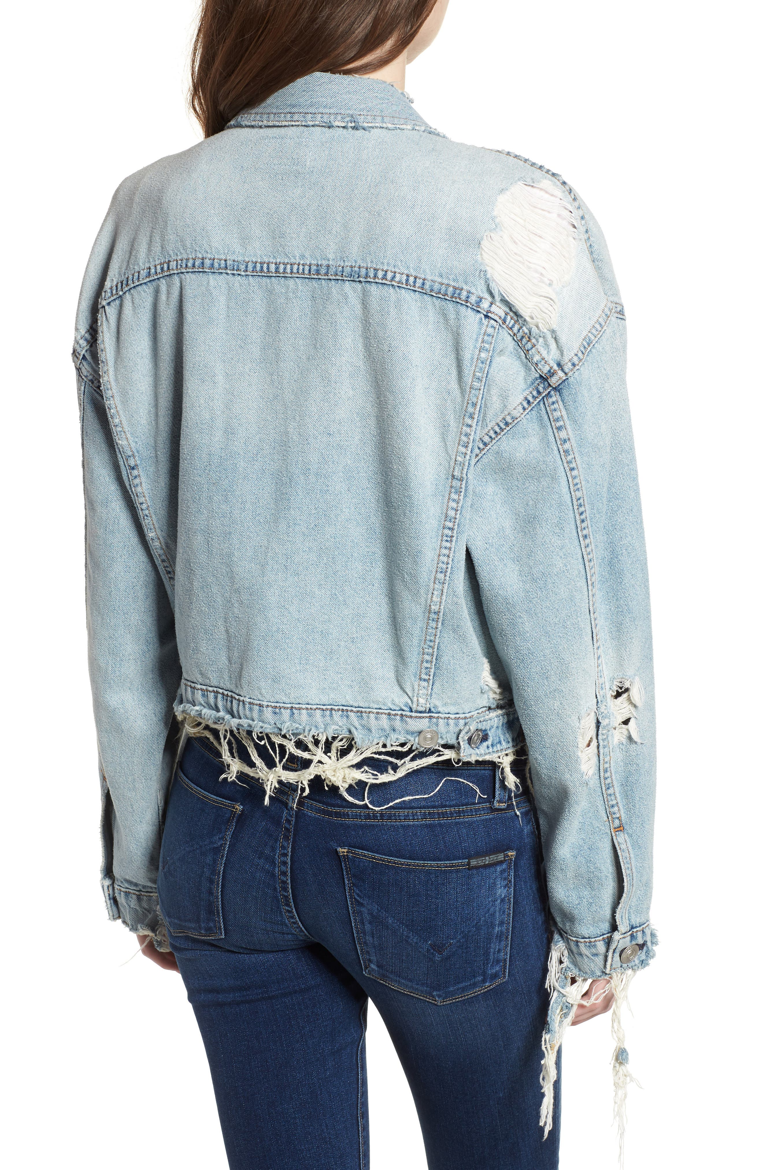 Rei Distressed Crop Denim Jacket,                             Alternate thumbnail 2, color,                             High And Dry