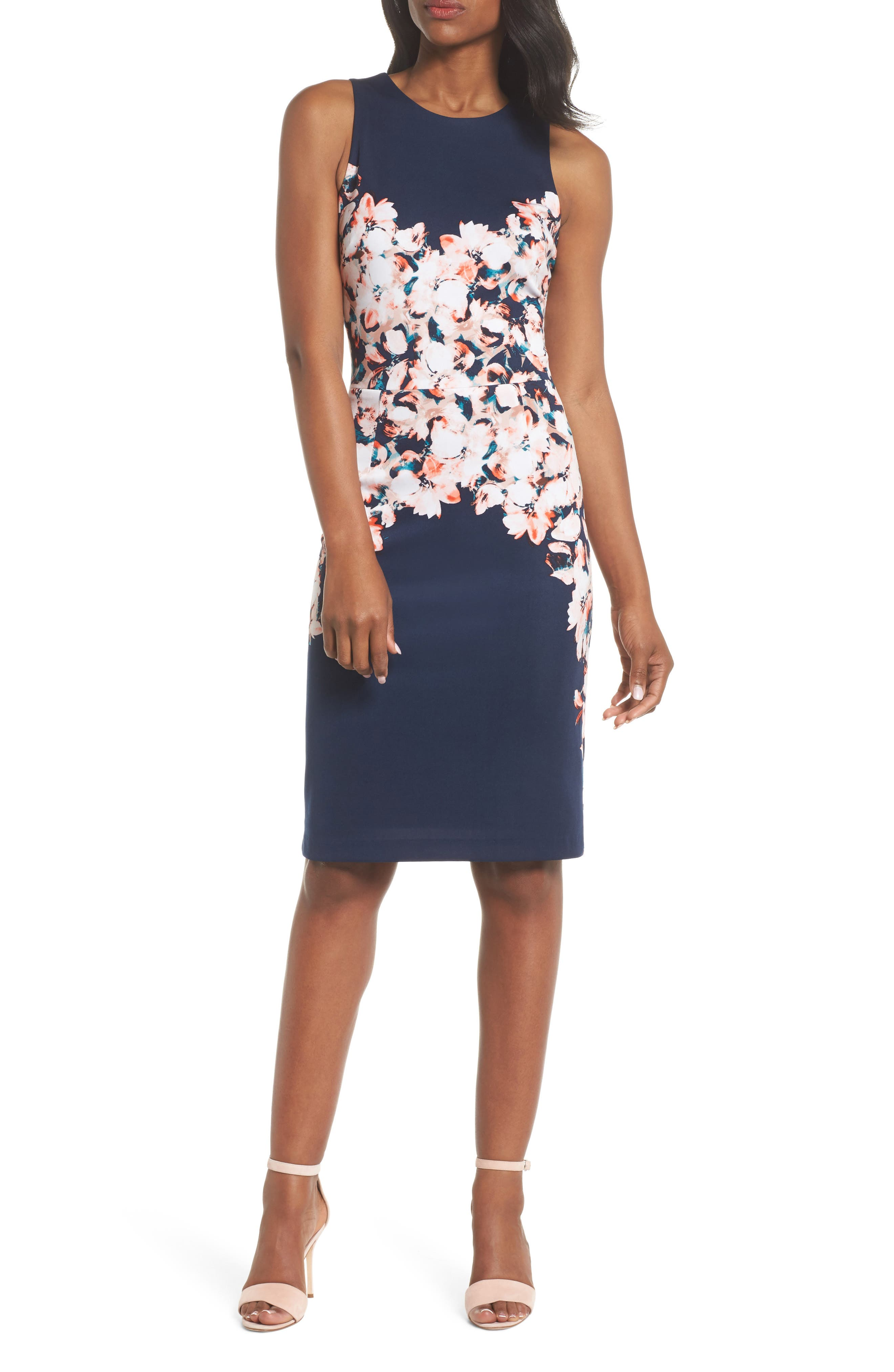 Maggy London Floral Scuba Sheath Dress (Regular & Petite)