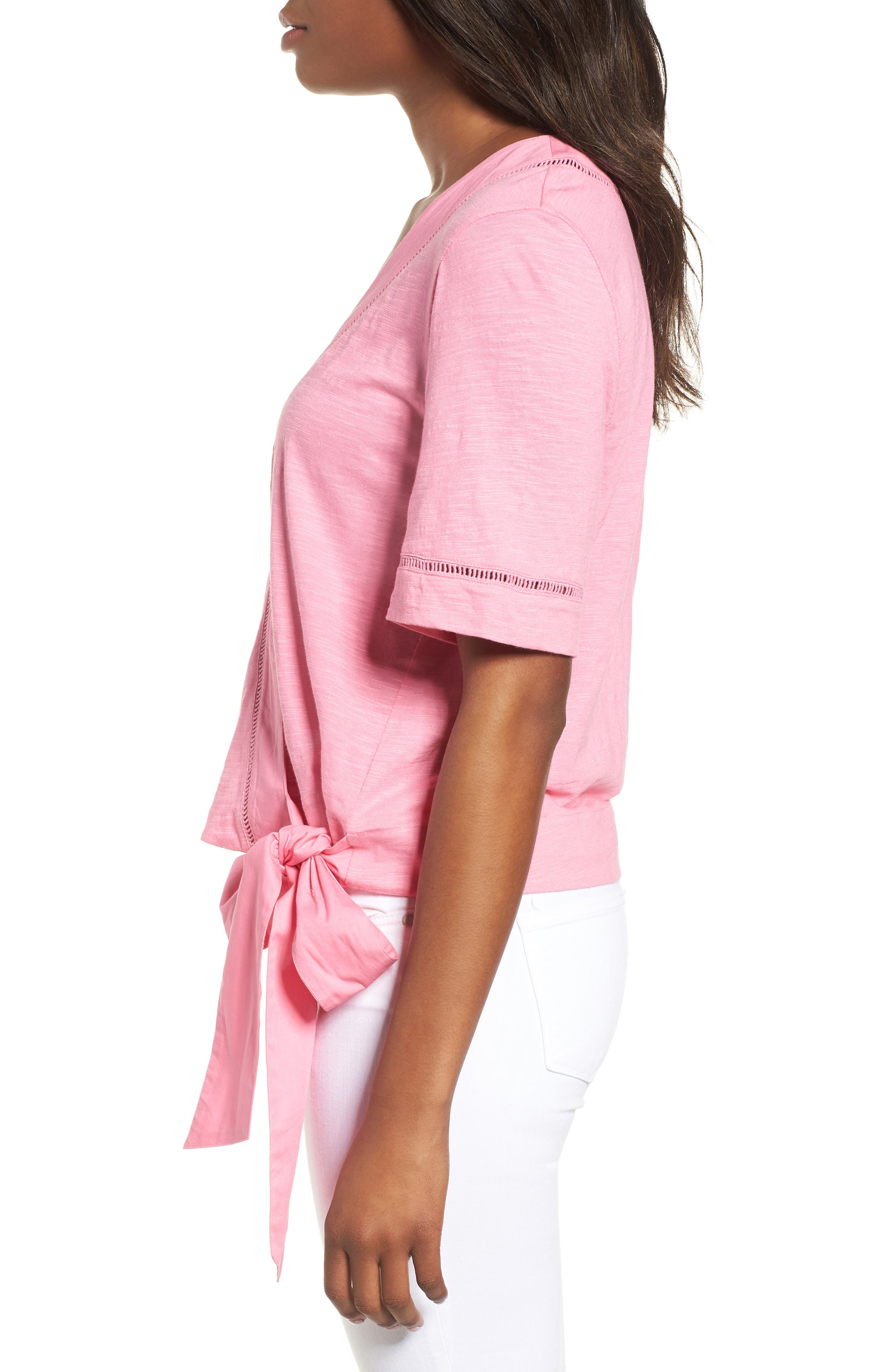 Tie Front Wrap Top,                             Alternate thumbnail 3, color,                             Pink Aurora