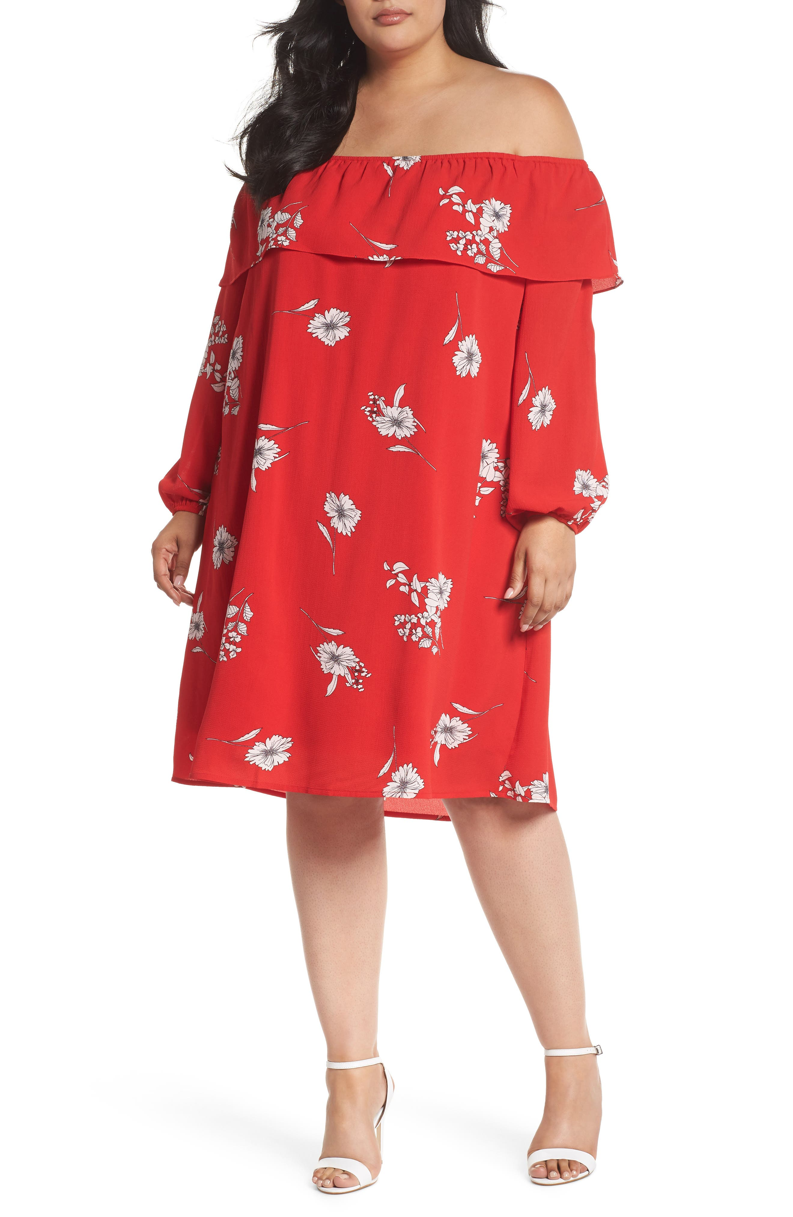 Floral Off the Shoulder Shift Dress,                             Main thumbnail 1, color,                             Red Carnation