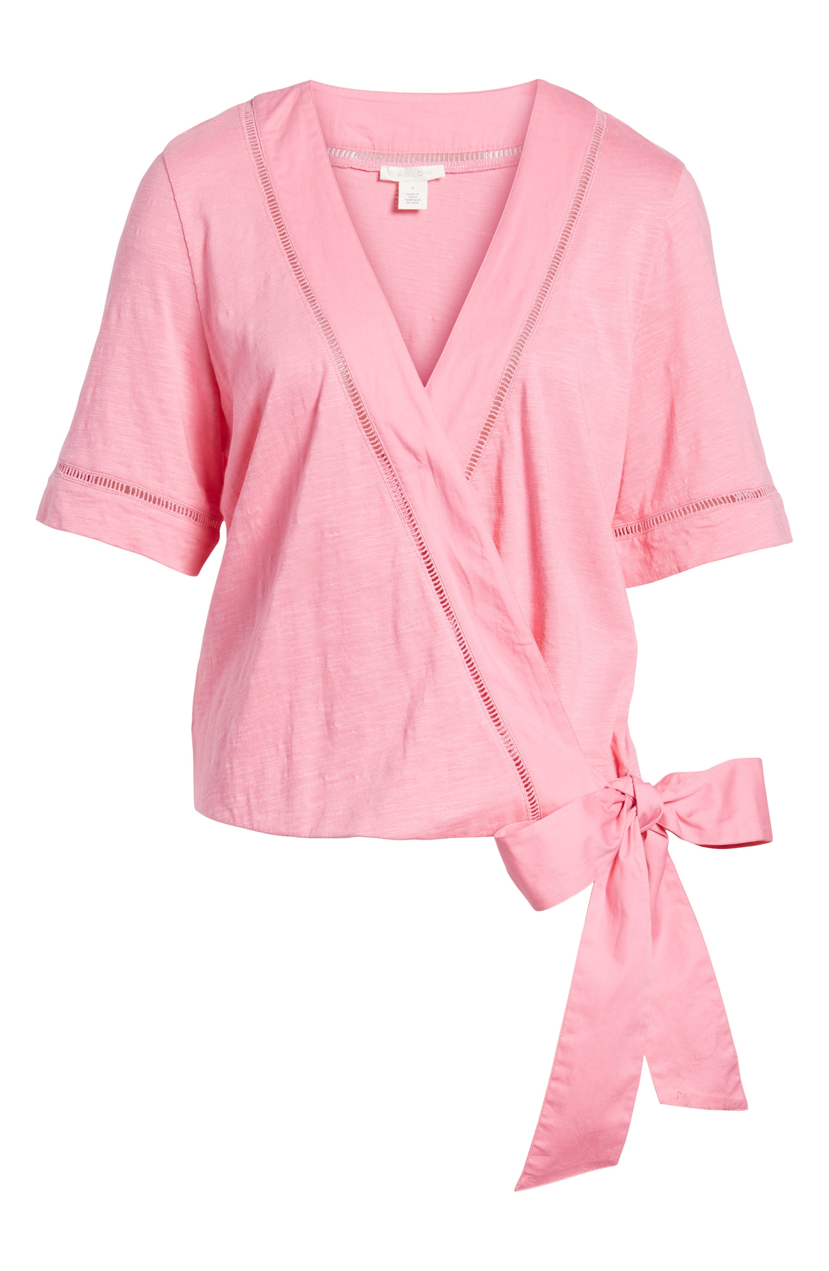 Tie Front Wrap Top,                             Alternate thumbnail 7, color,                             Pink Aurora