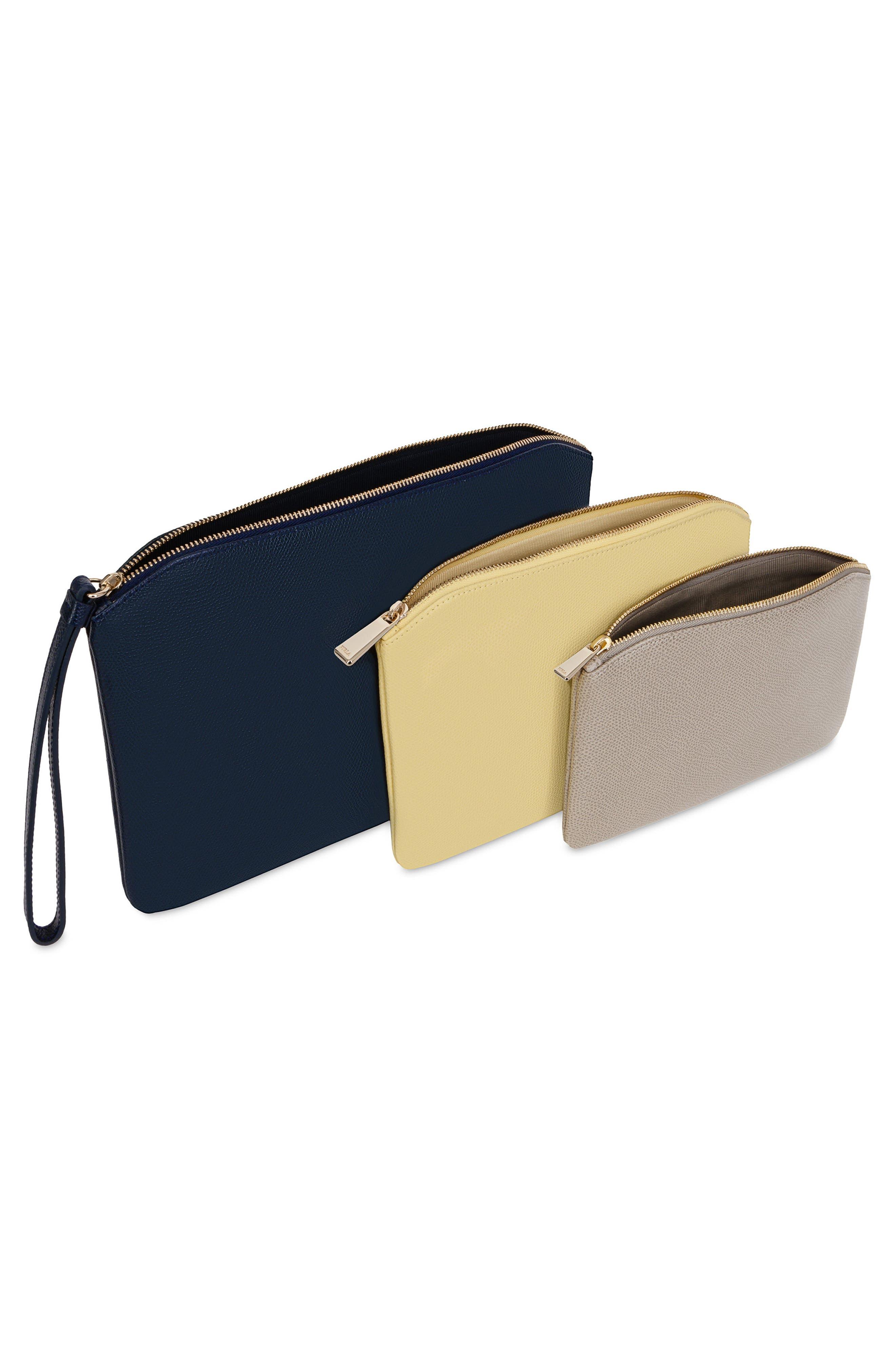 Venere Set of 3 Leather Cosmetic Bags,                             Alternate thumbnail 2, color,                             Blu/ Cedro/ Sabbia