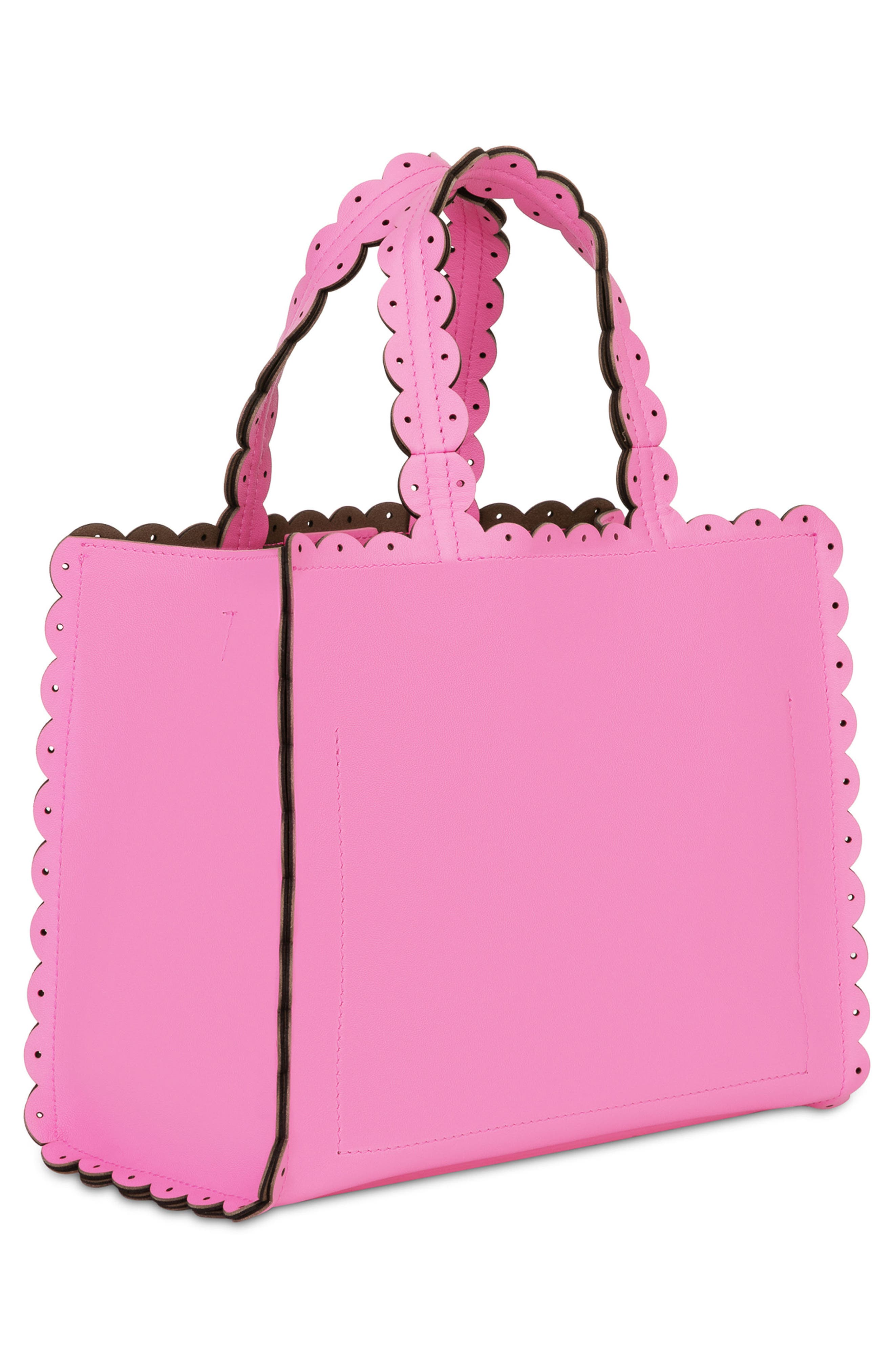 Small Merletto Leather Tote,                             Alternate thumbnail 3, color,                             Orchidea D